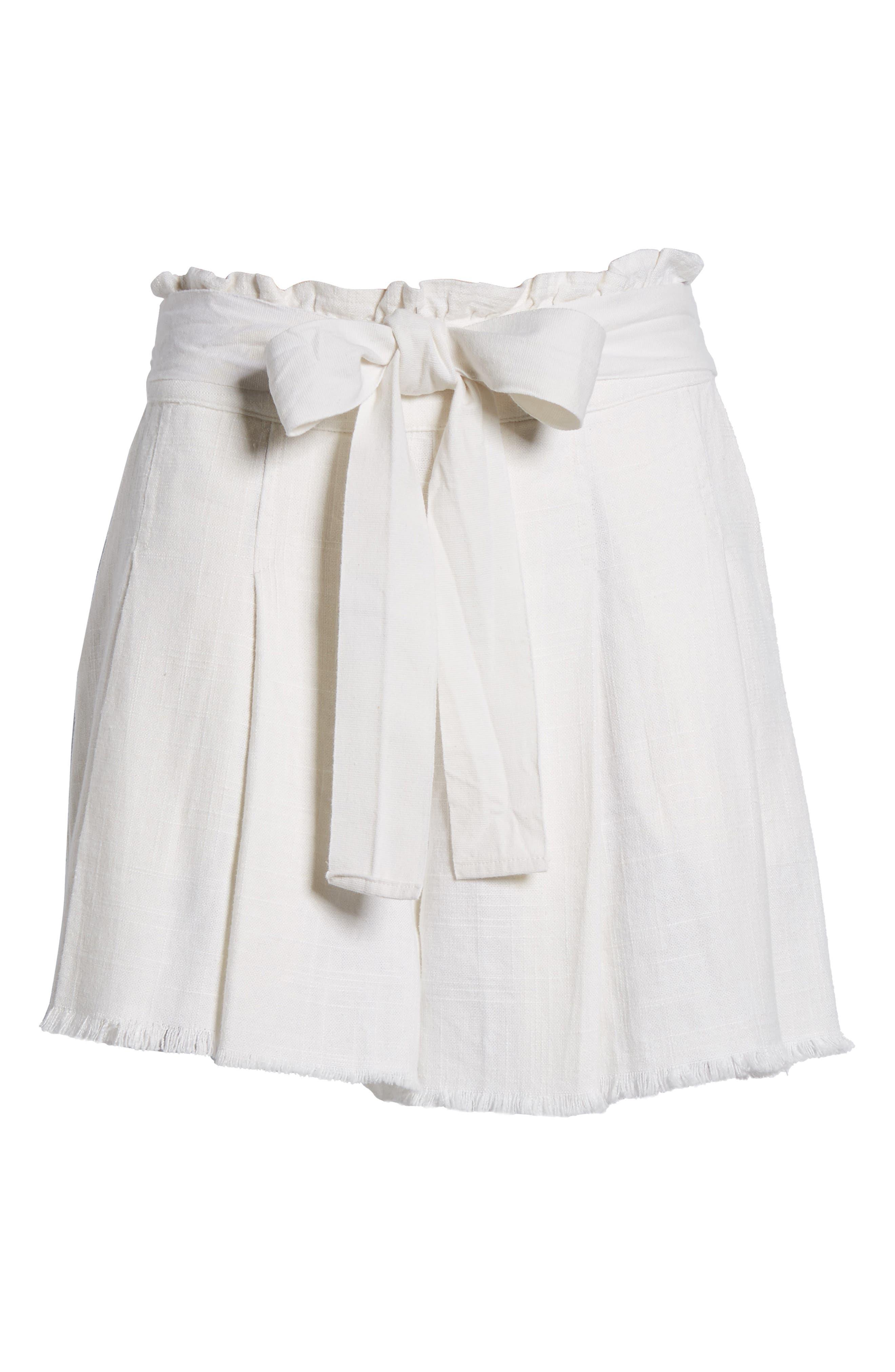 Raw Hem Paper Bag Waist Shorts,                             Alternate thumbnail 7, color,                             White