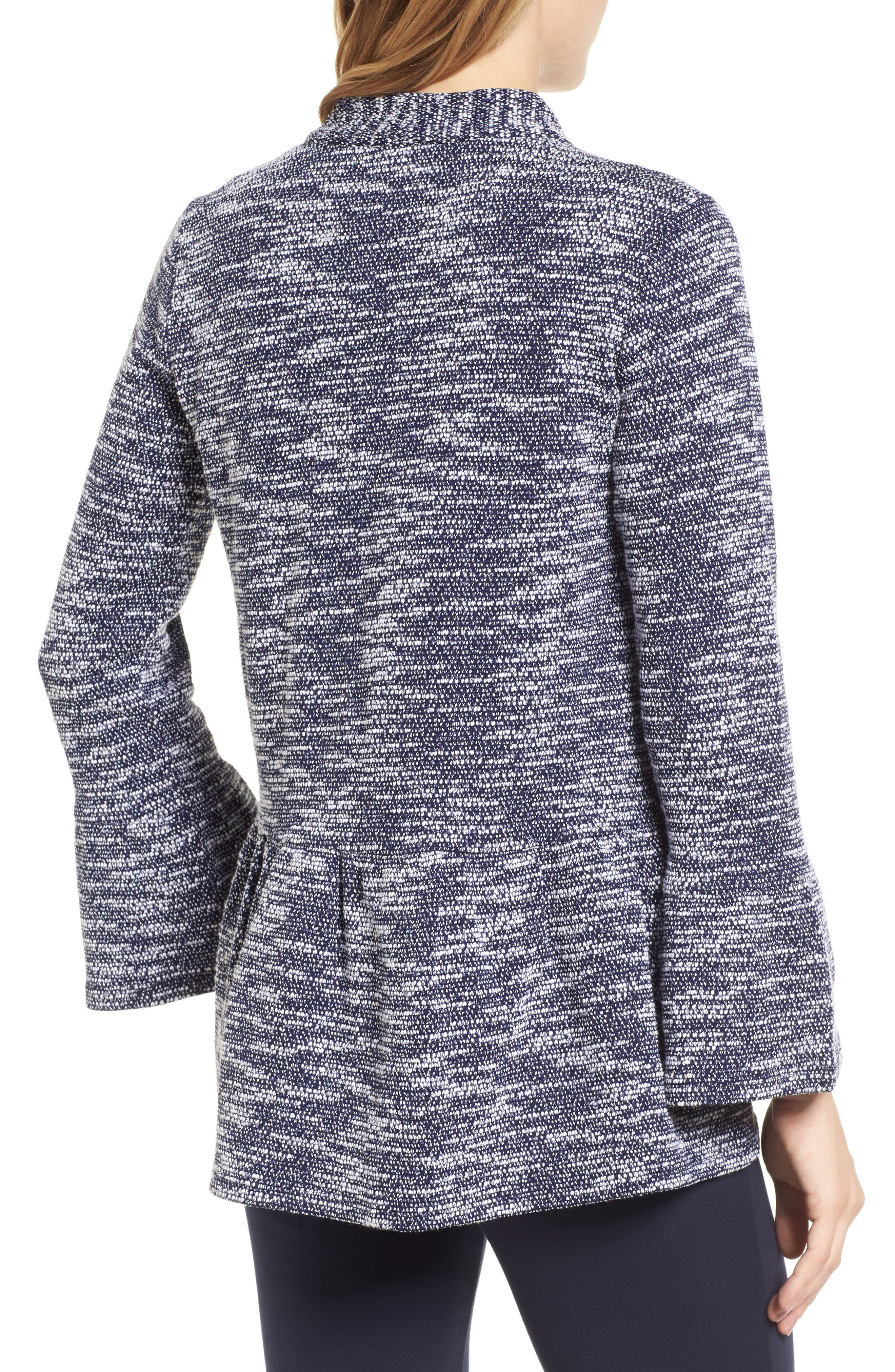 Bell Cuff Textured Cardigan,                             Alternate thumbnail 2, color,                             529-Evening Navy