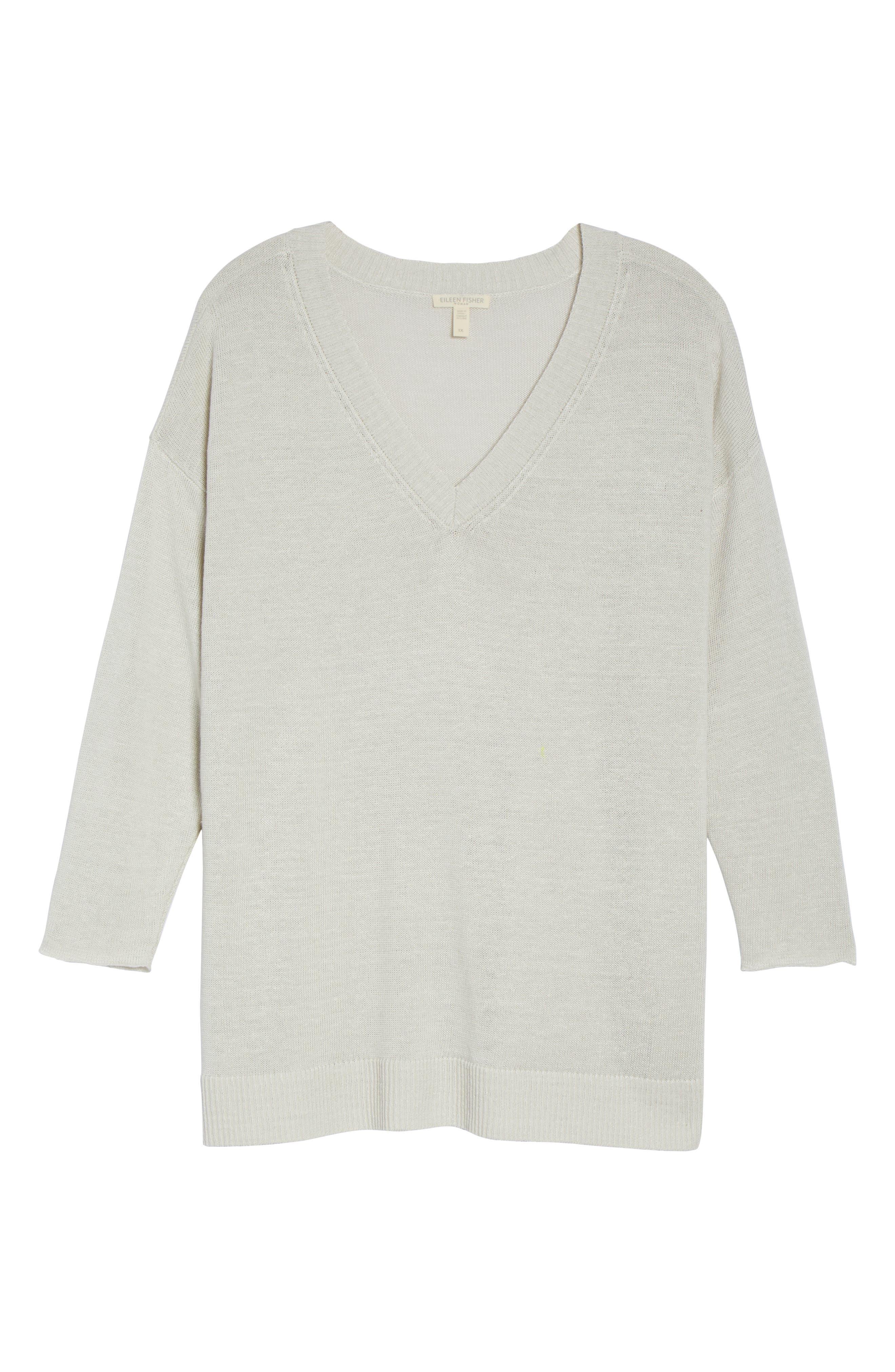 Organic Linen Sweater,                             Alternate thumbnail 6, color,                             Bone