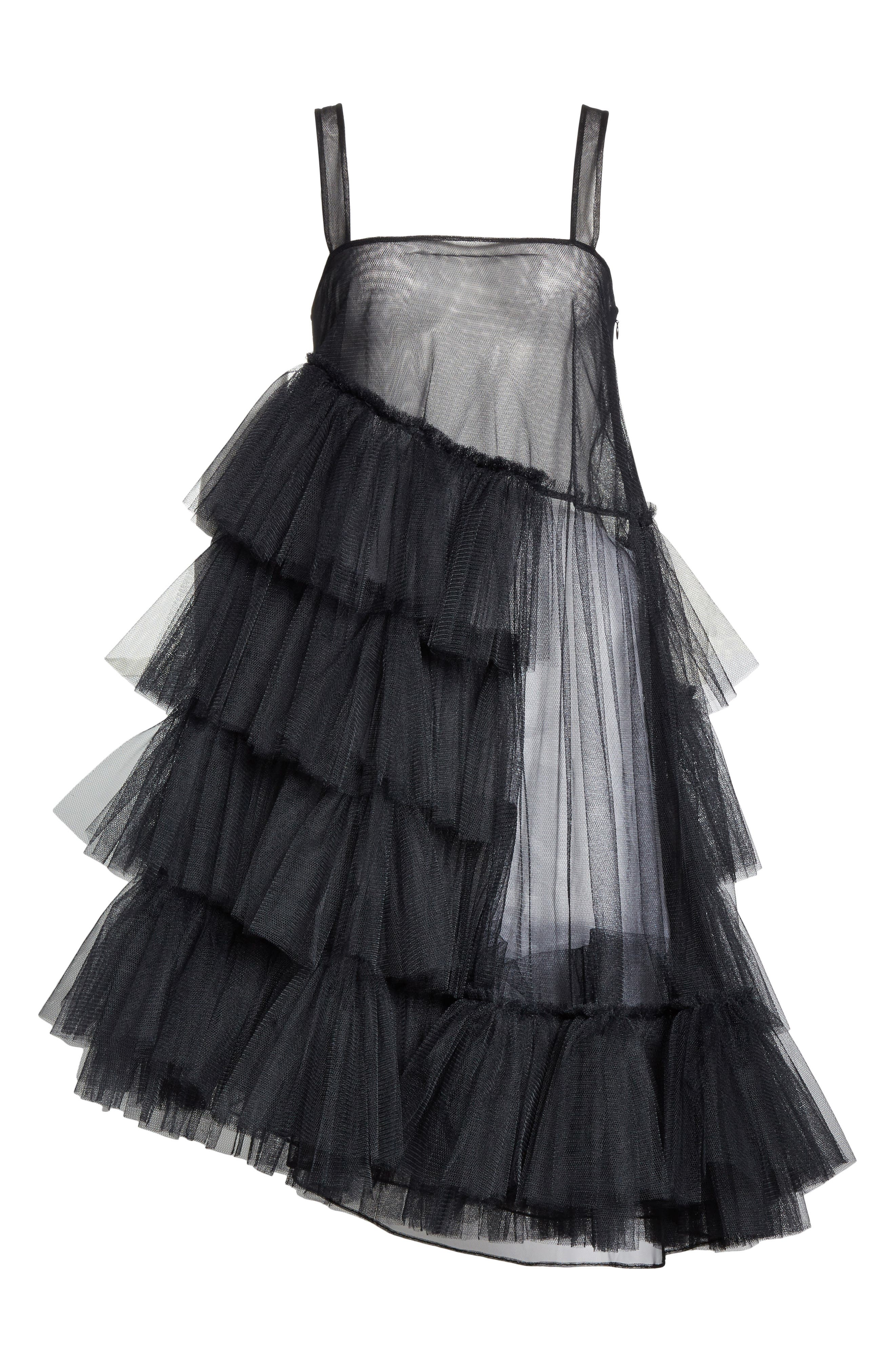 Turbo Tiered Tulle Dress,                             Alternate thumbnail 6, color,                             Black