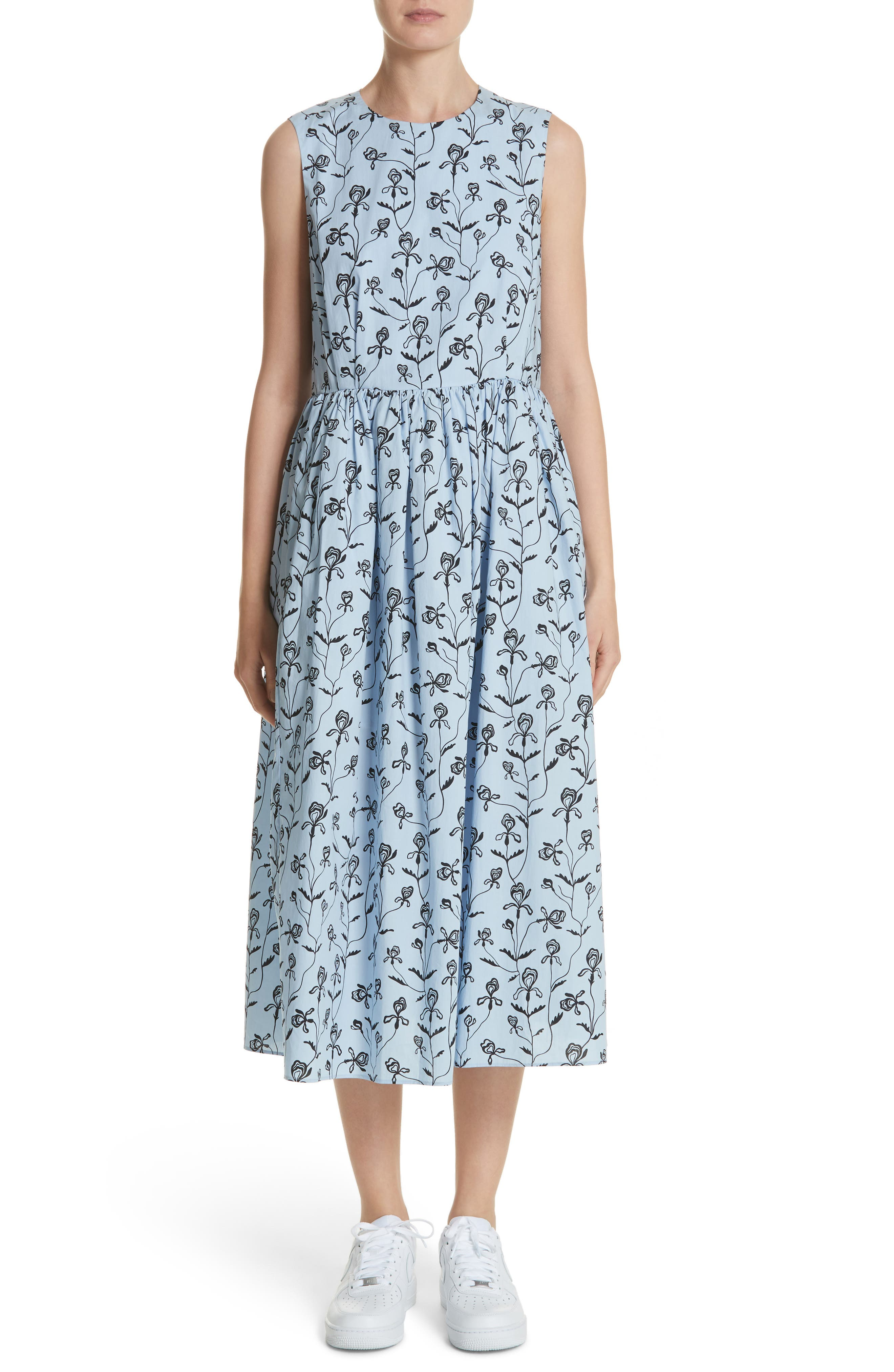 Floral Print Sleeveless Dress,                             Main thumbnail 1, color,                             Blue Flower