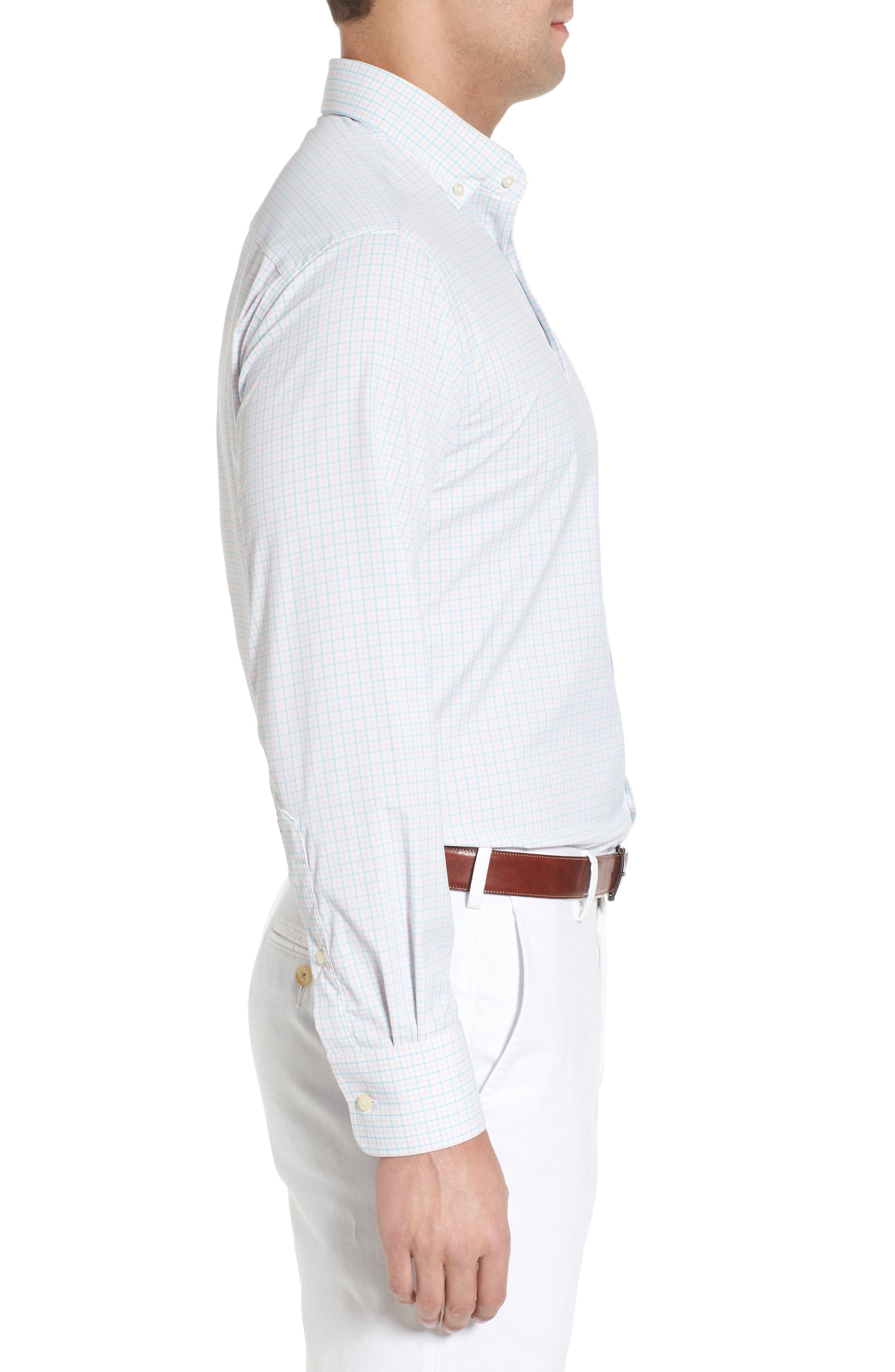 Waldorf Regular Fit Tattersall Performance Sport Shirt,                             Alternate thumbnail 4, color,                             White/ Piglet Pink