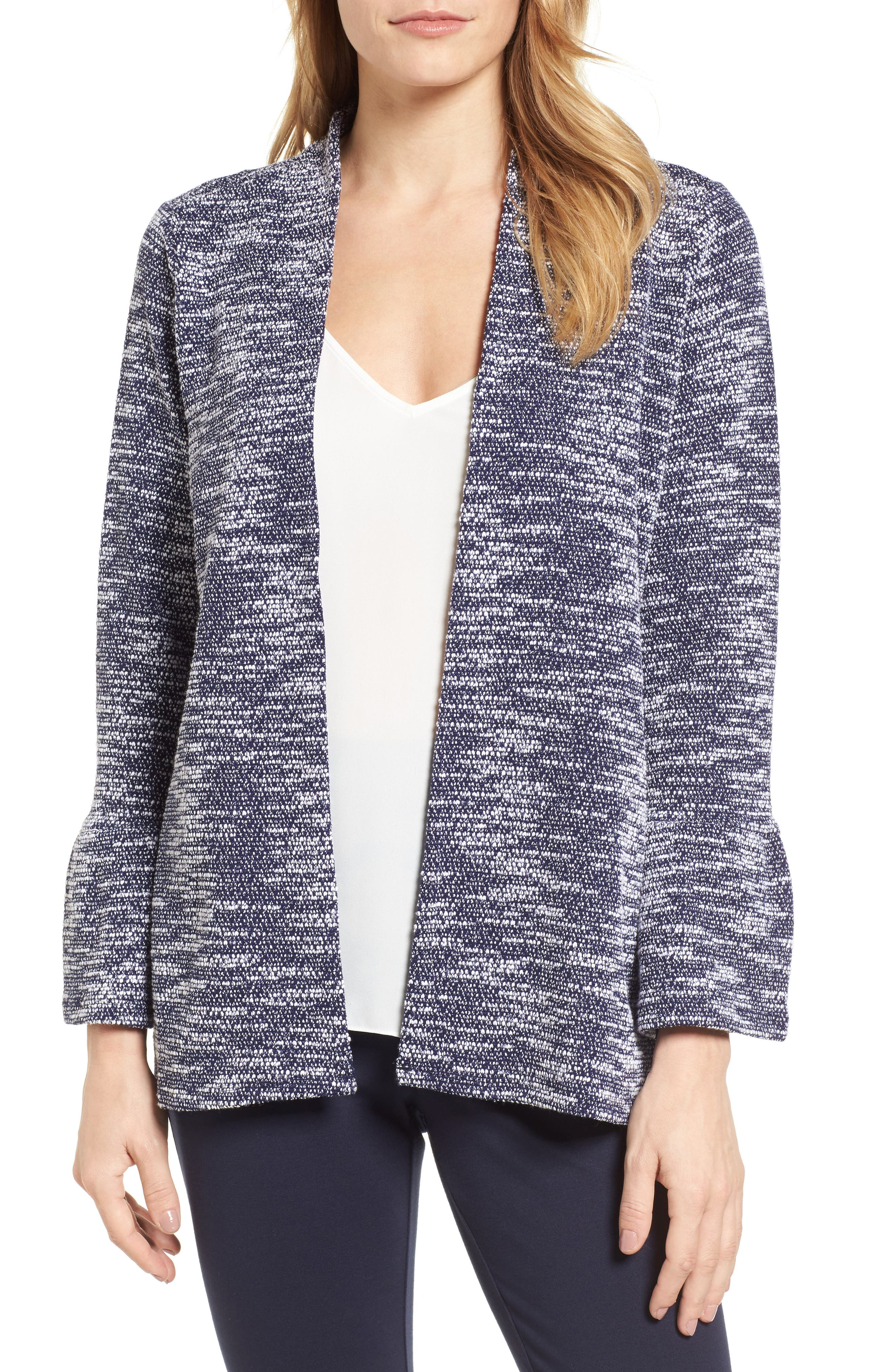 Bell Cuff Textured Cardigan,                             Main thumbnail 1, color,                             529-Evening Navy