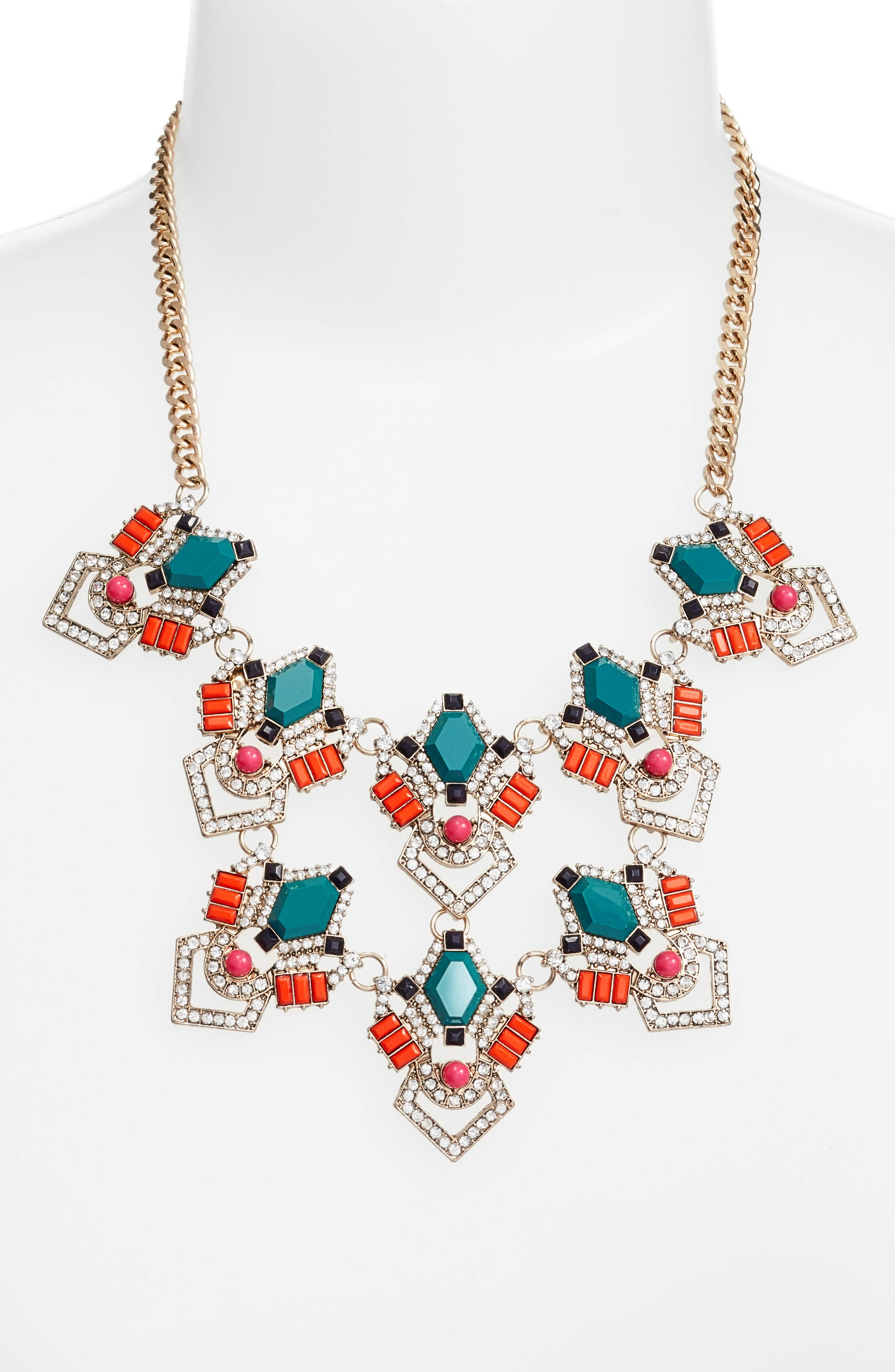 Stone & Crystal Statement Necklace,                             Alternate thumbnail 2, color,                             Teal