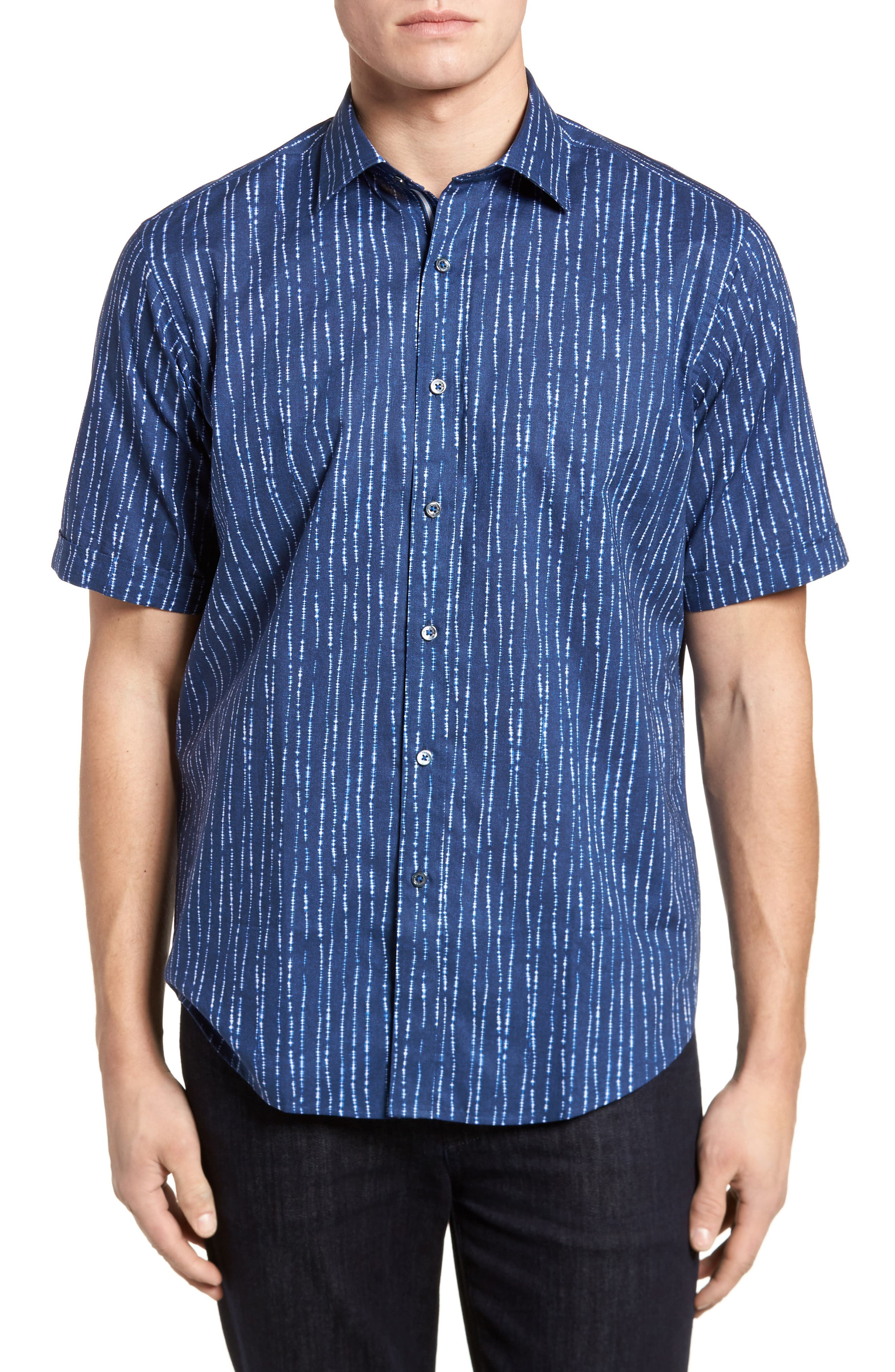 Freehand Tie Dye Lines Classic Fit Sport Shirt,                         Main,                         color, Navy