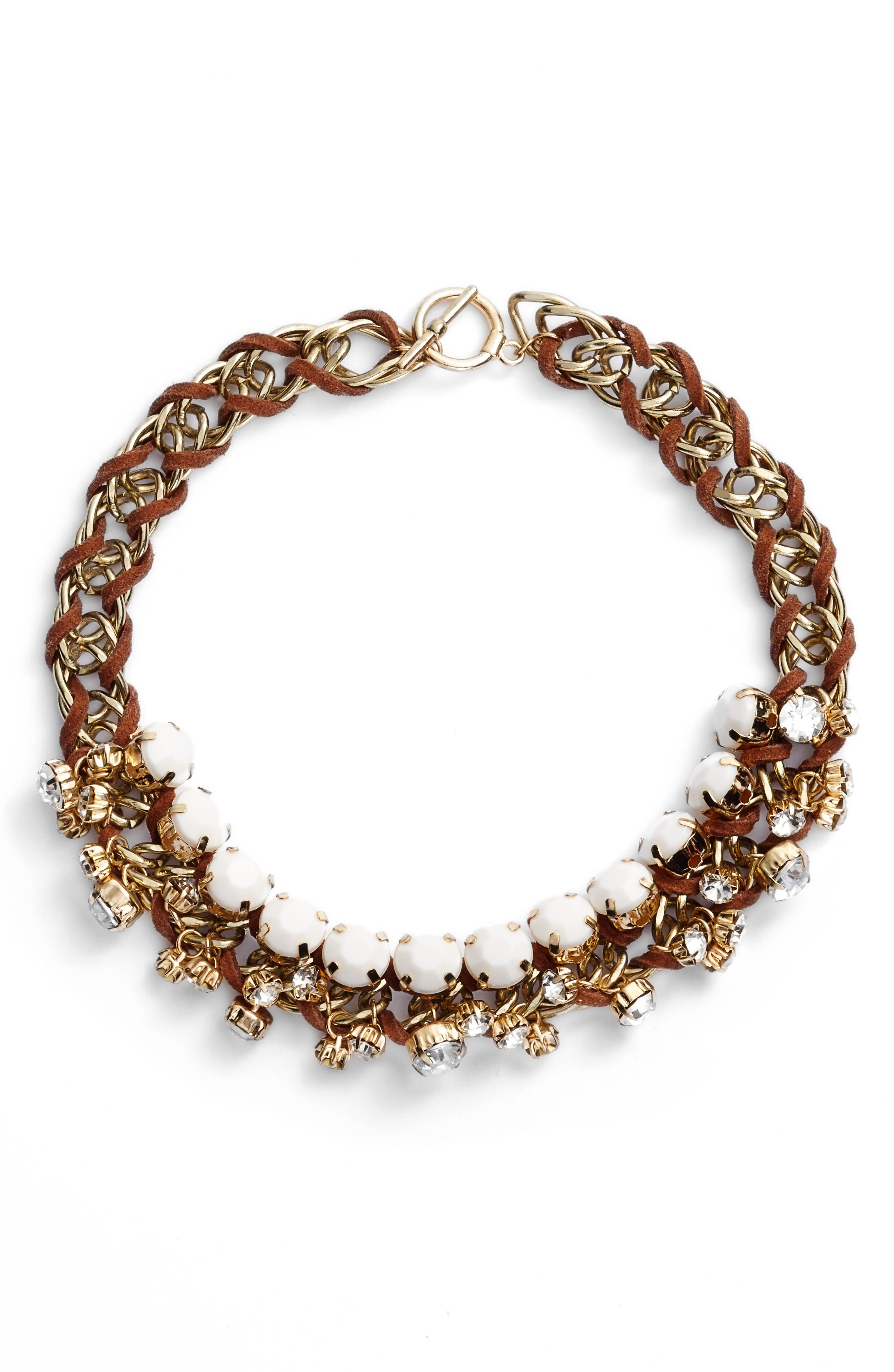 Woven Statement Necklace,                         Main,                         color, Brown/ Beige
