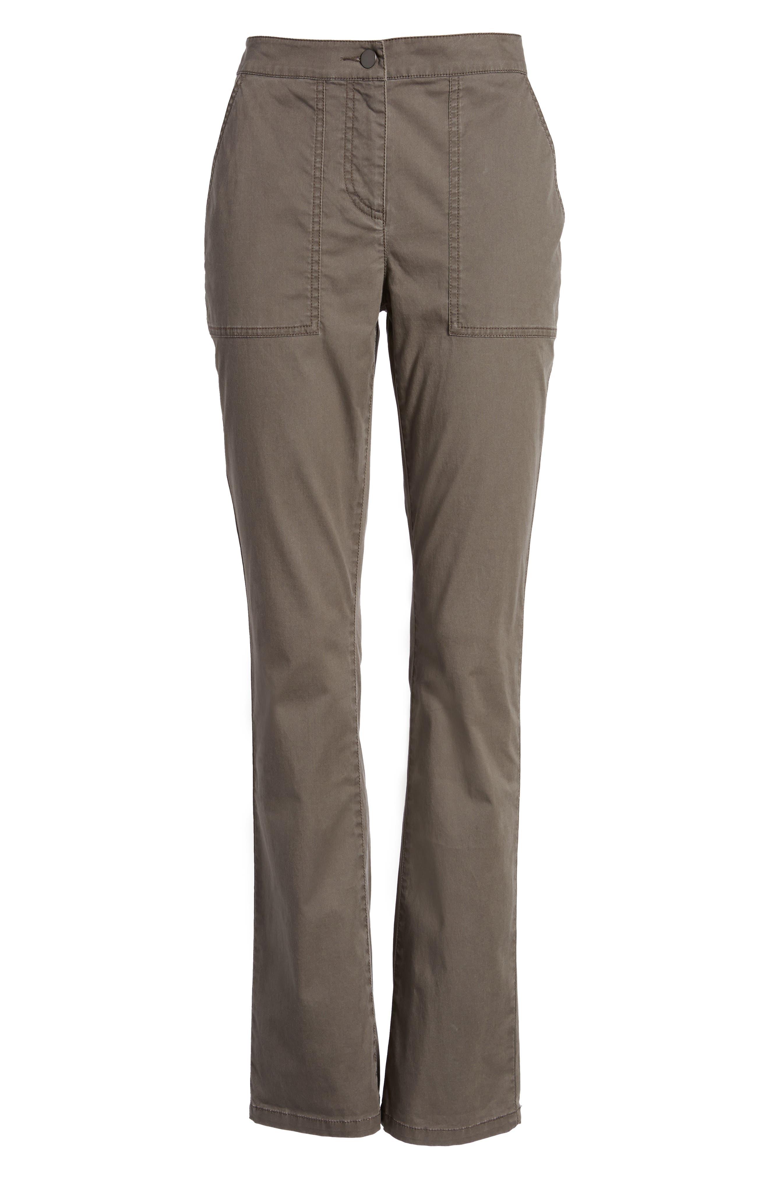Slim Organic Cotton Blend Pants,                             Alternate thumbnail 6, color,                             Rye