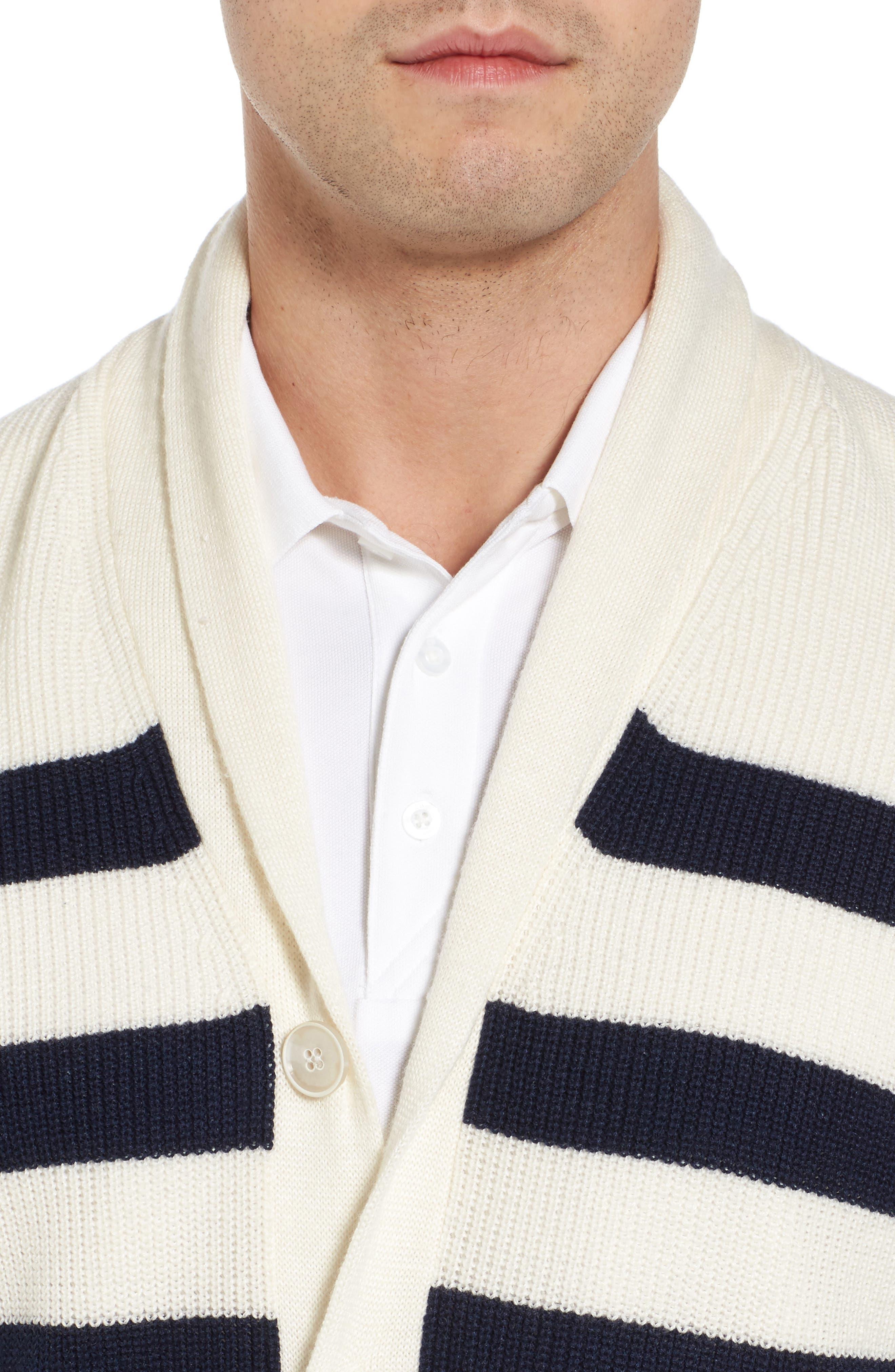 Crown Cool Sailor Stripe Merino Wool & Linen Cardigan,                             Alternate thumbnail 4, color,                             Yankee Blue