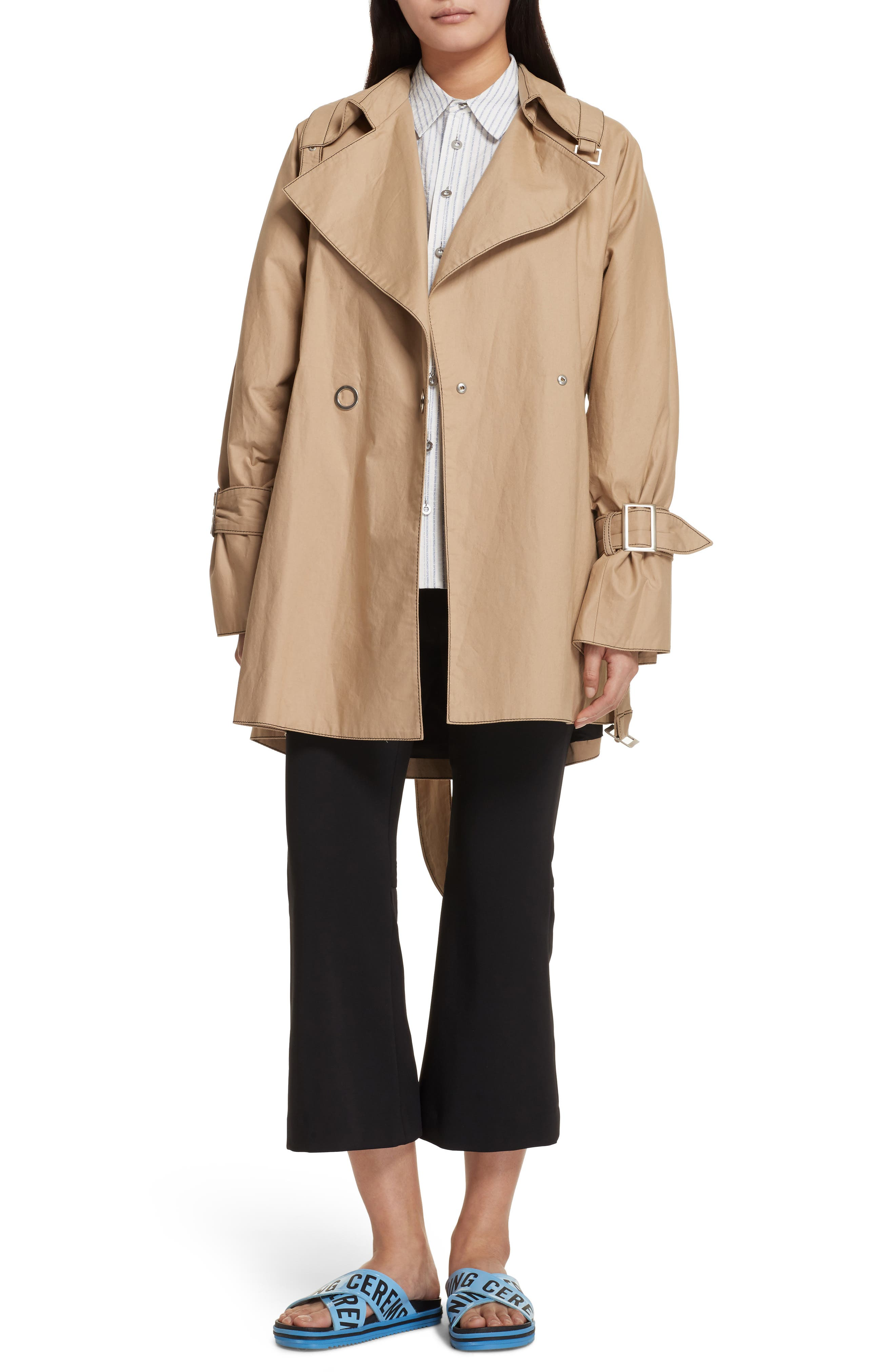 Bonded Poplin Trench Coat,                             Alternate thumbnail 2, color,                             Khaki