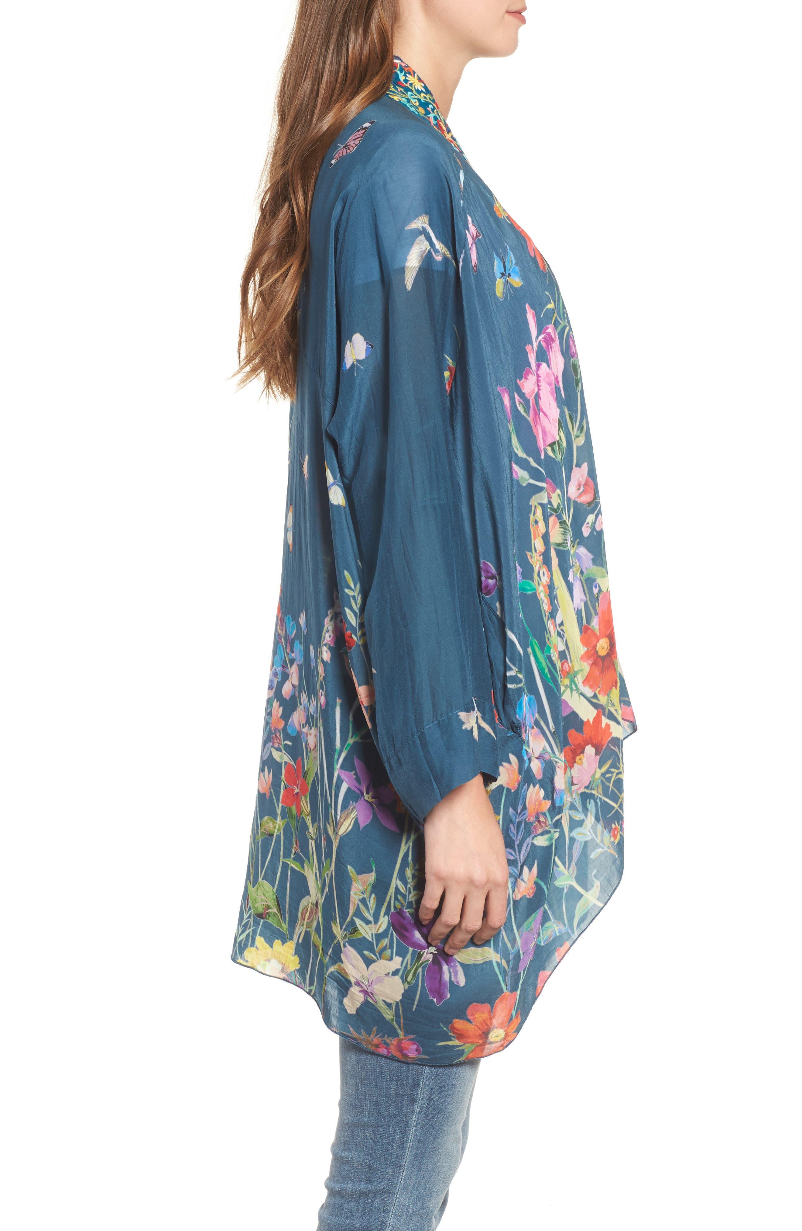 Summer Paisley Silk Kimono,                             Alternate thumbnail 3, color,                             Multi/ Blue