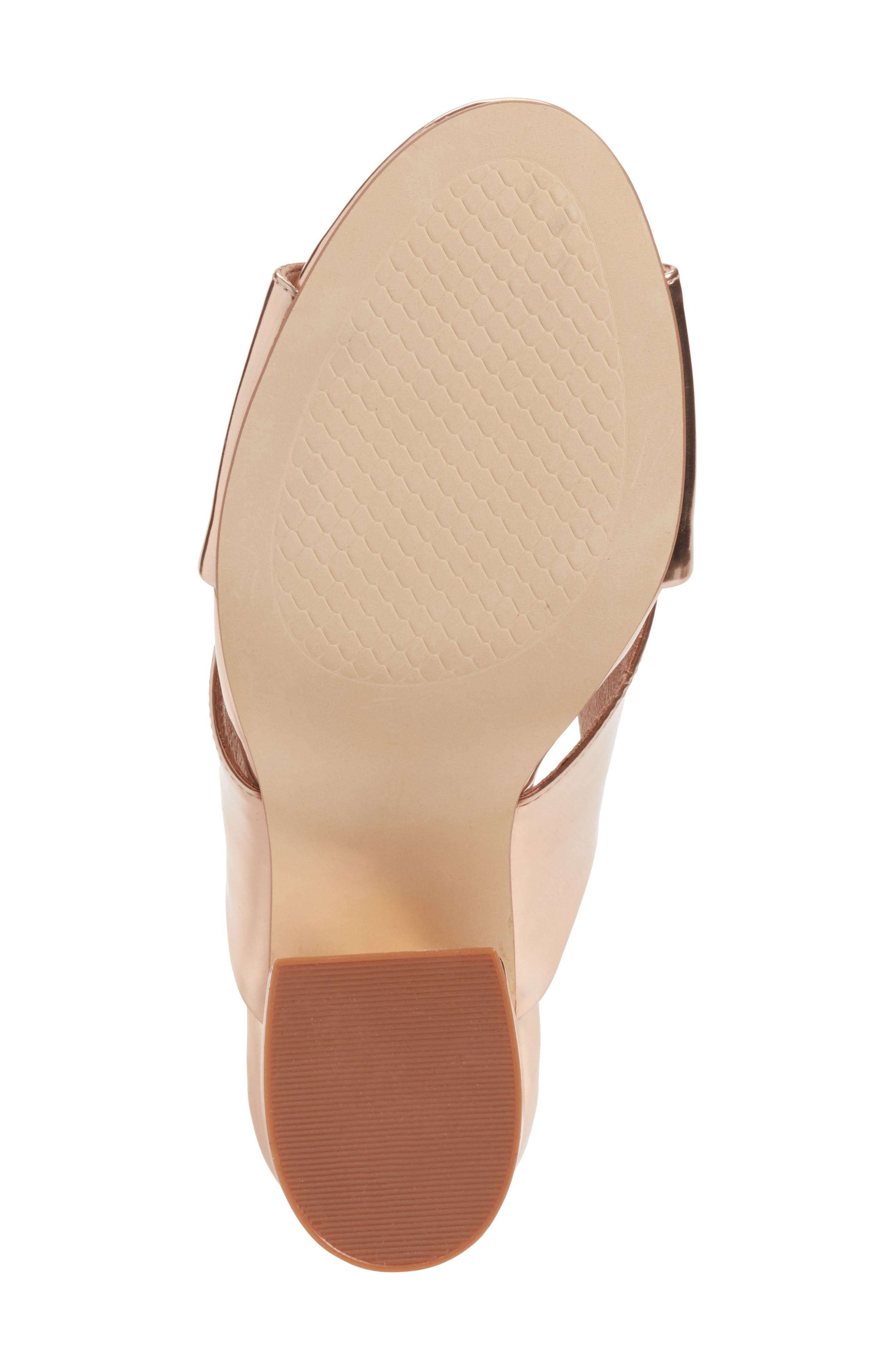 Cammie Block Heel Sandal,                             Alternate thumbnail 6, color,                             Rosegold Metallic Faux Leather
