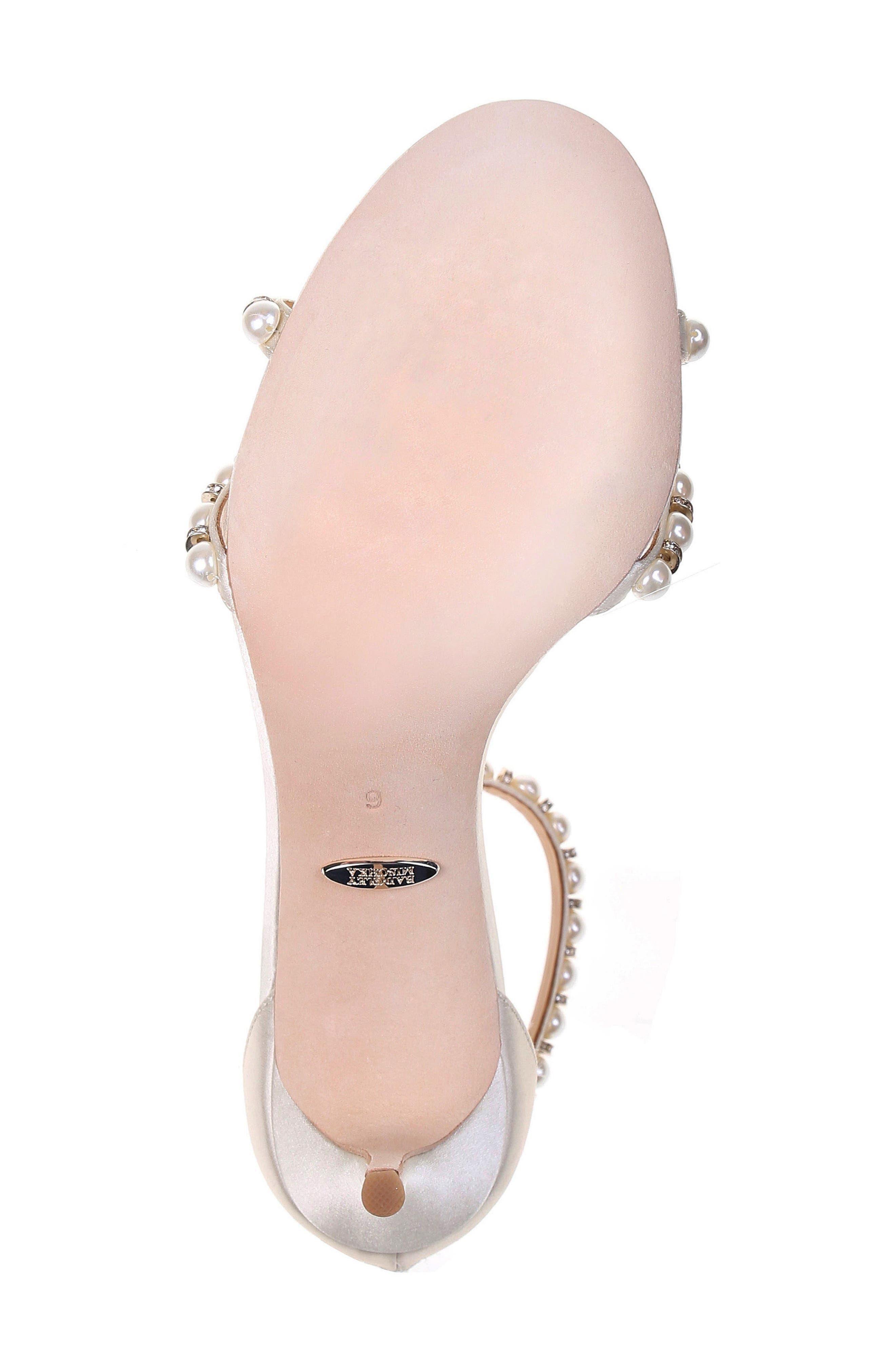 Hannah Embellished Ankle Strap Sandal,                             Alternate thumbnail 6, color,                             Ivory Satin