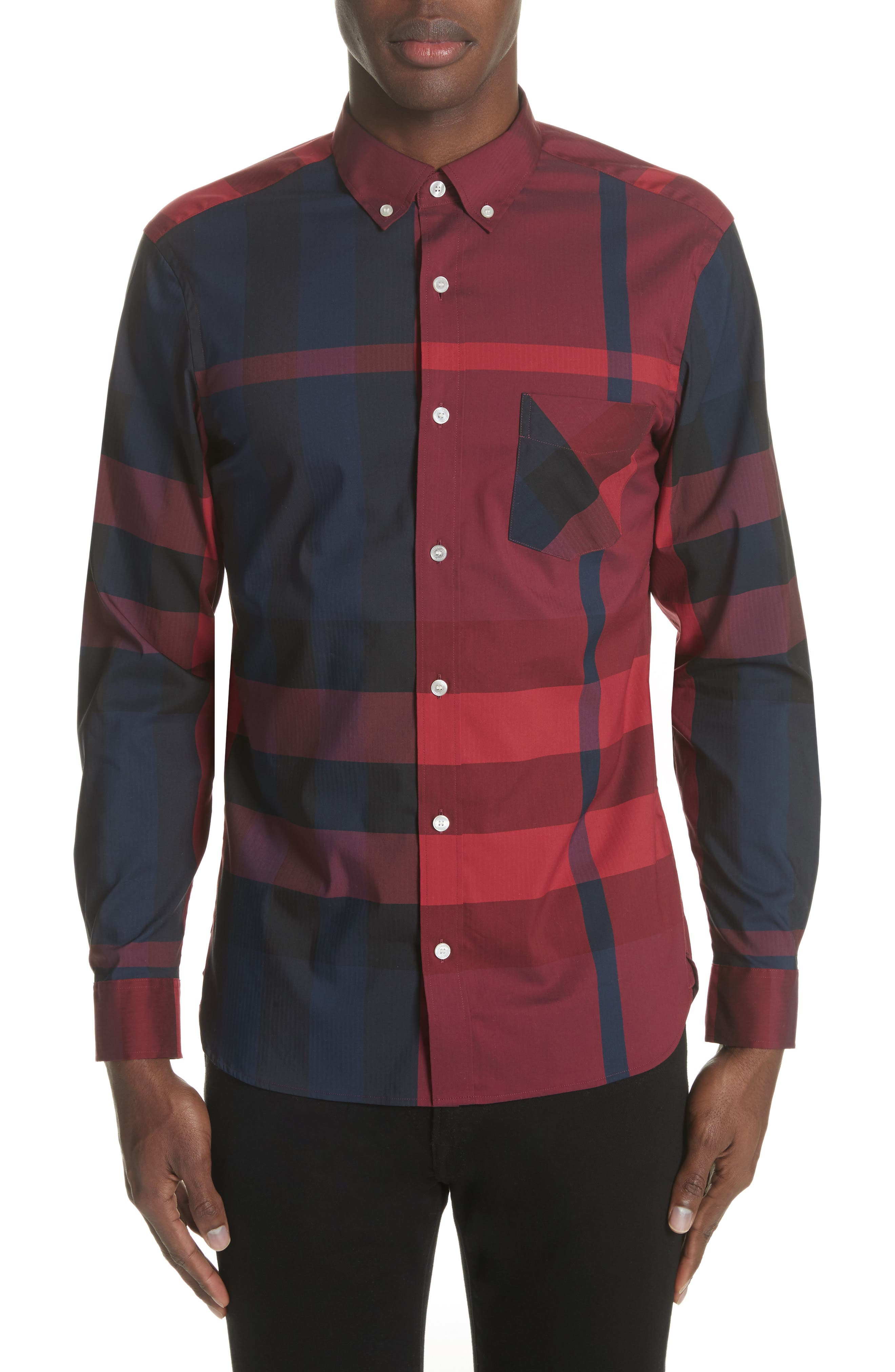 Thornaby Regular Fit Plaid Sport Shirt,                             Main thumbnail 1, color,                             Bright Red