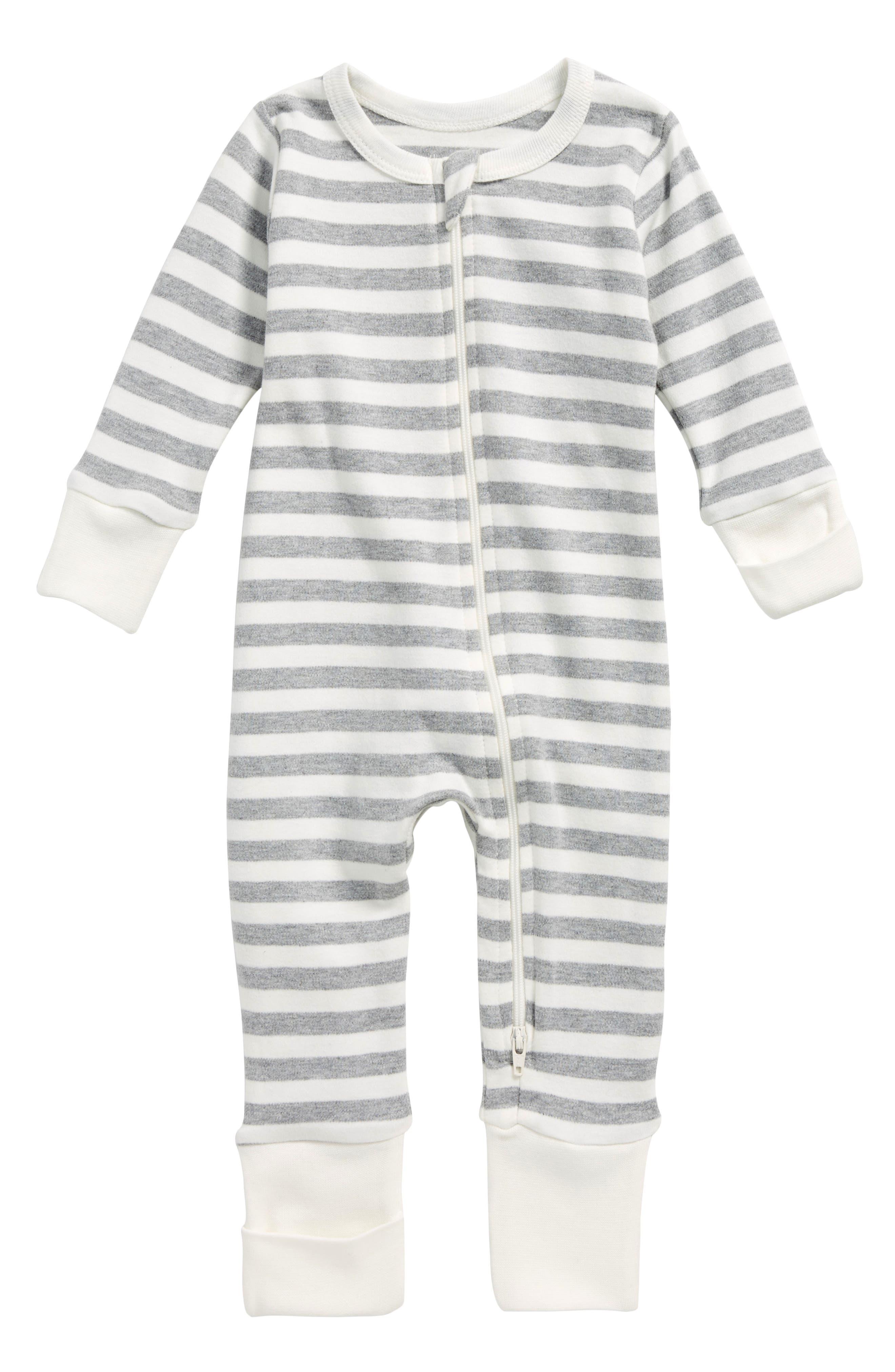 Stripe Organic Cotton Romper,                             Main thumbnail 1, color,                             Striped Grey/ Off White