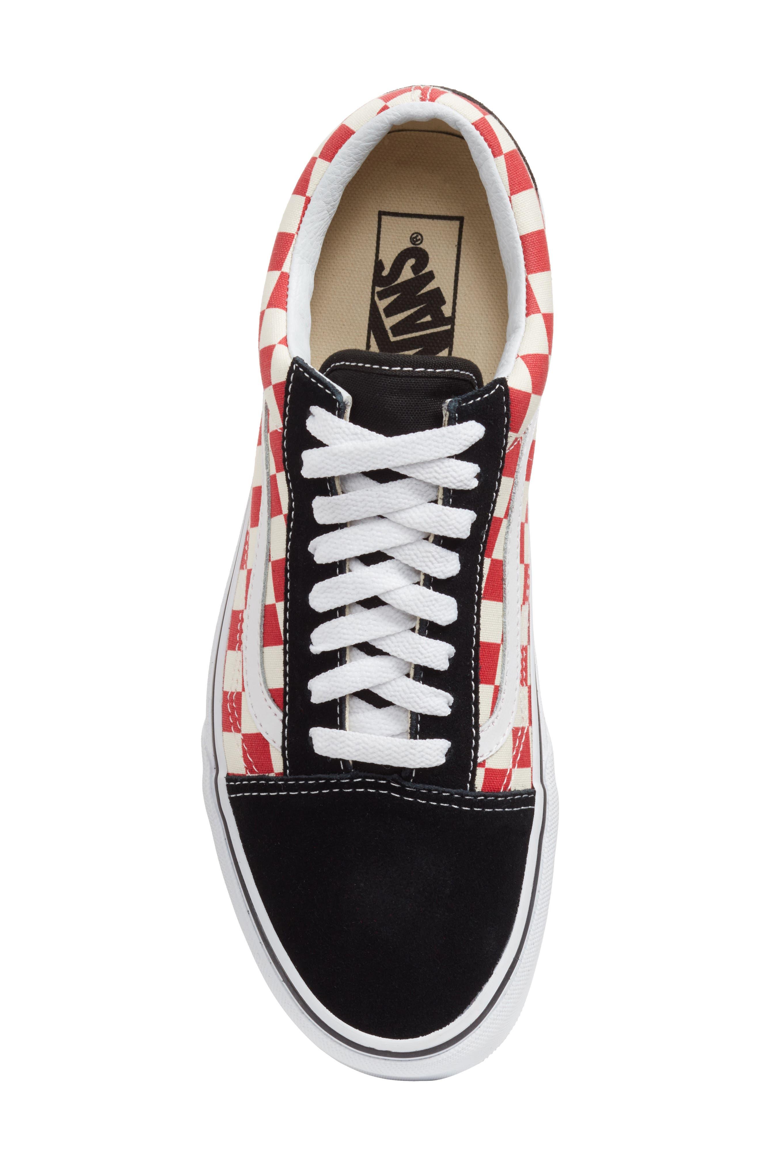 Old Skool Sneaker,                             Alternate thumbnail 5, color,                             Black/ Red Checkerboard