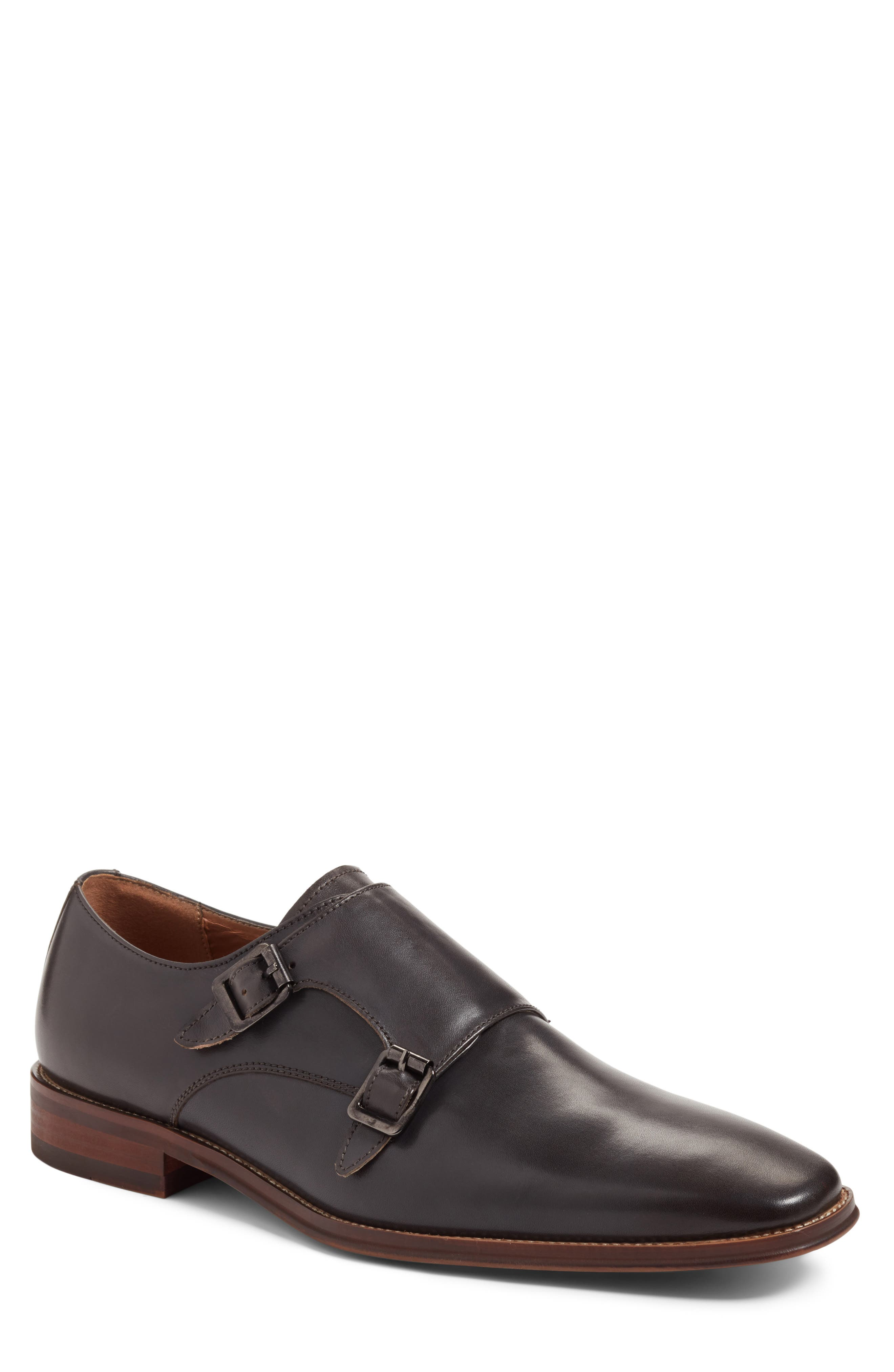 Sedona Double Strap Monk Shoe,                             Main thumbnail 1, color,                             Grey Leather
