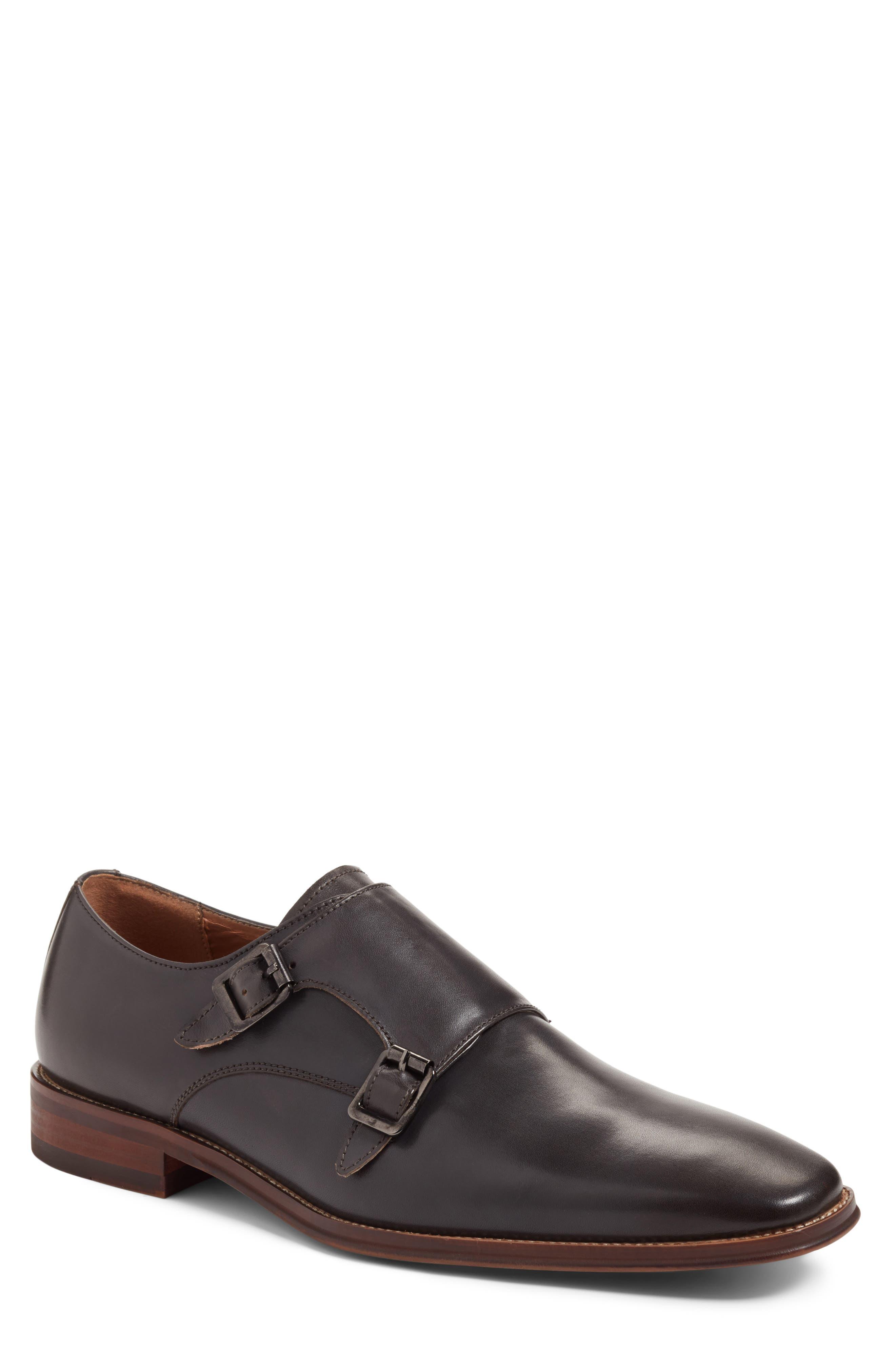 Sedona Double Strap Monk Shoe,                         Main,                         color, Grey Leather