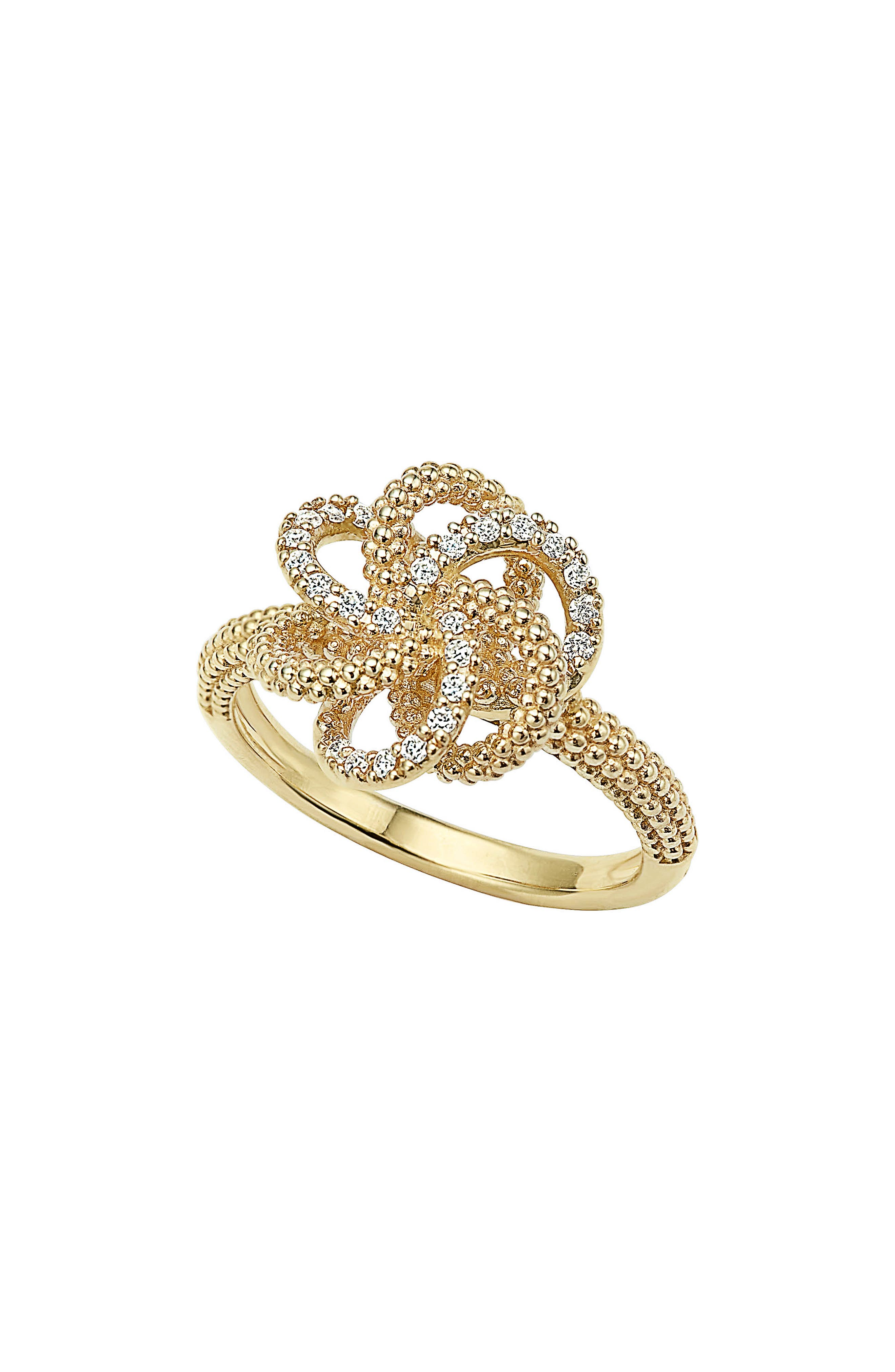 'Love Knot' Diamond Ring,                         Main,                         color, Gold
