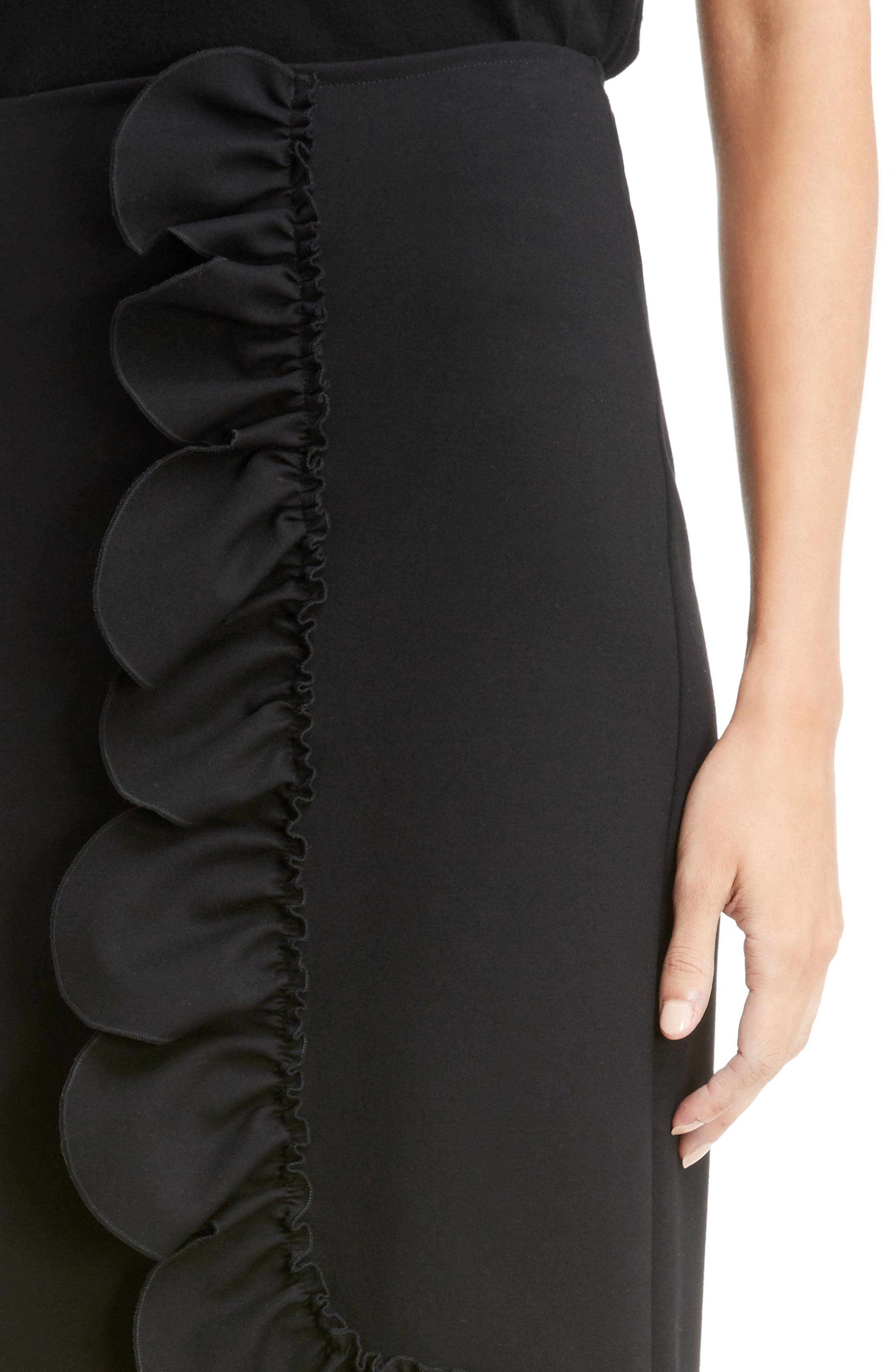 Asymmetrical Ruffle Skirt,                             Alternate thumbnail 5, color,                             Black