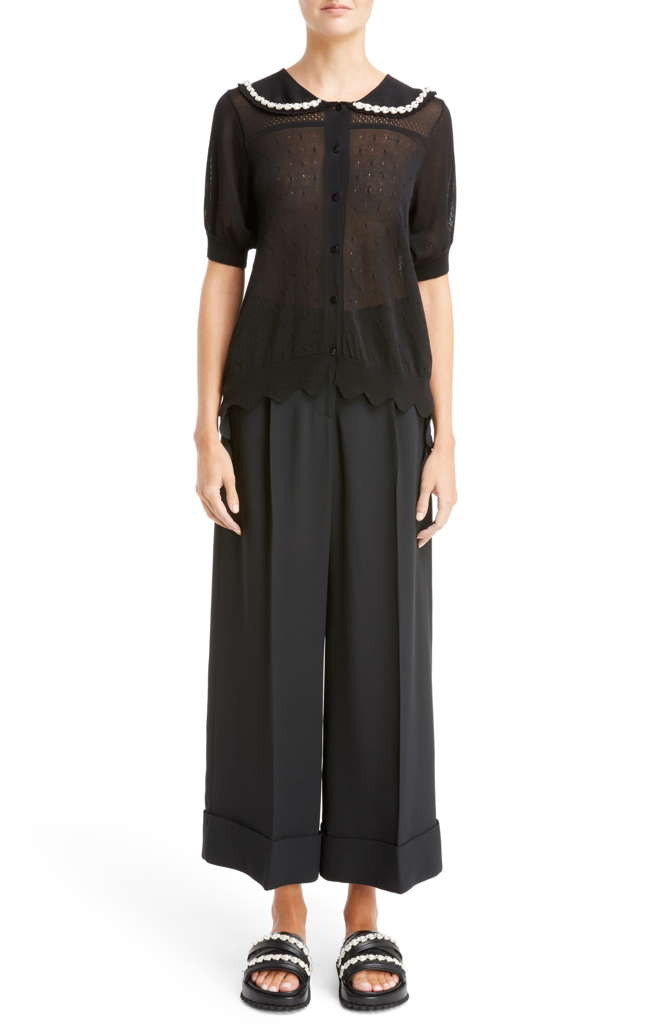 Beaded Lace Knit Cardigan,                             Alternate thumbnail 6, color,                             Black