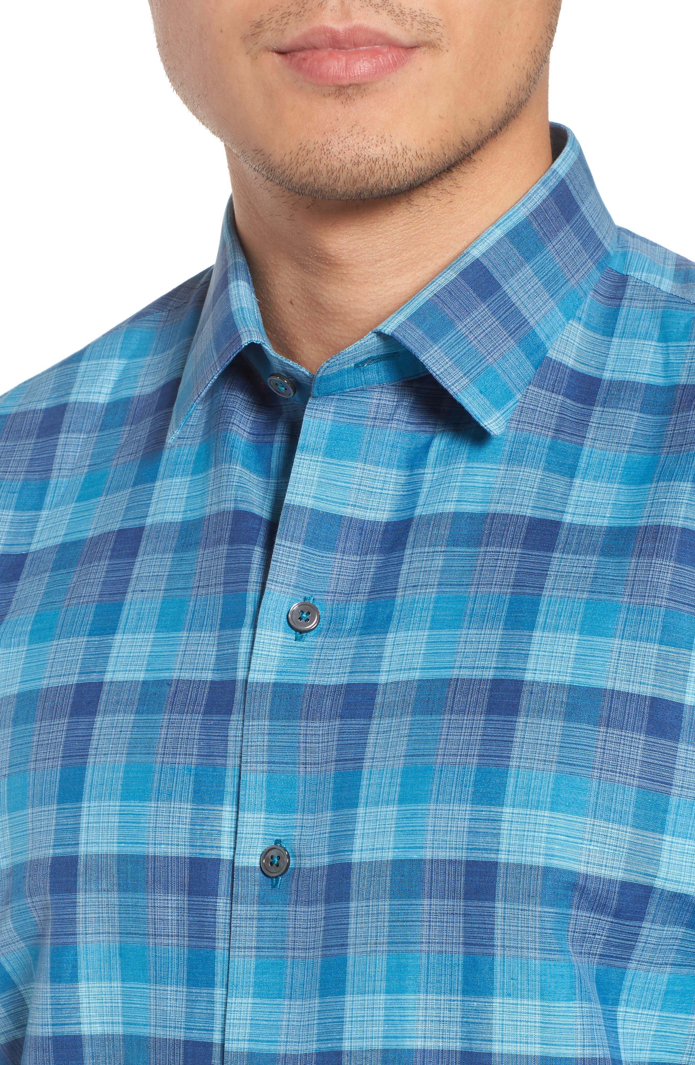 Maverick Plaid Linen Blend Sport Shirt,                             Alternate thumbnail 4, color,                             Teal