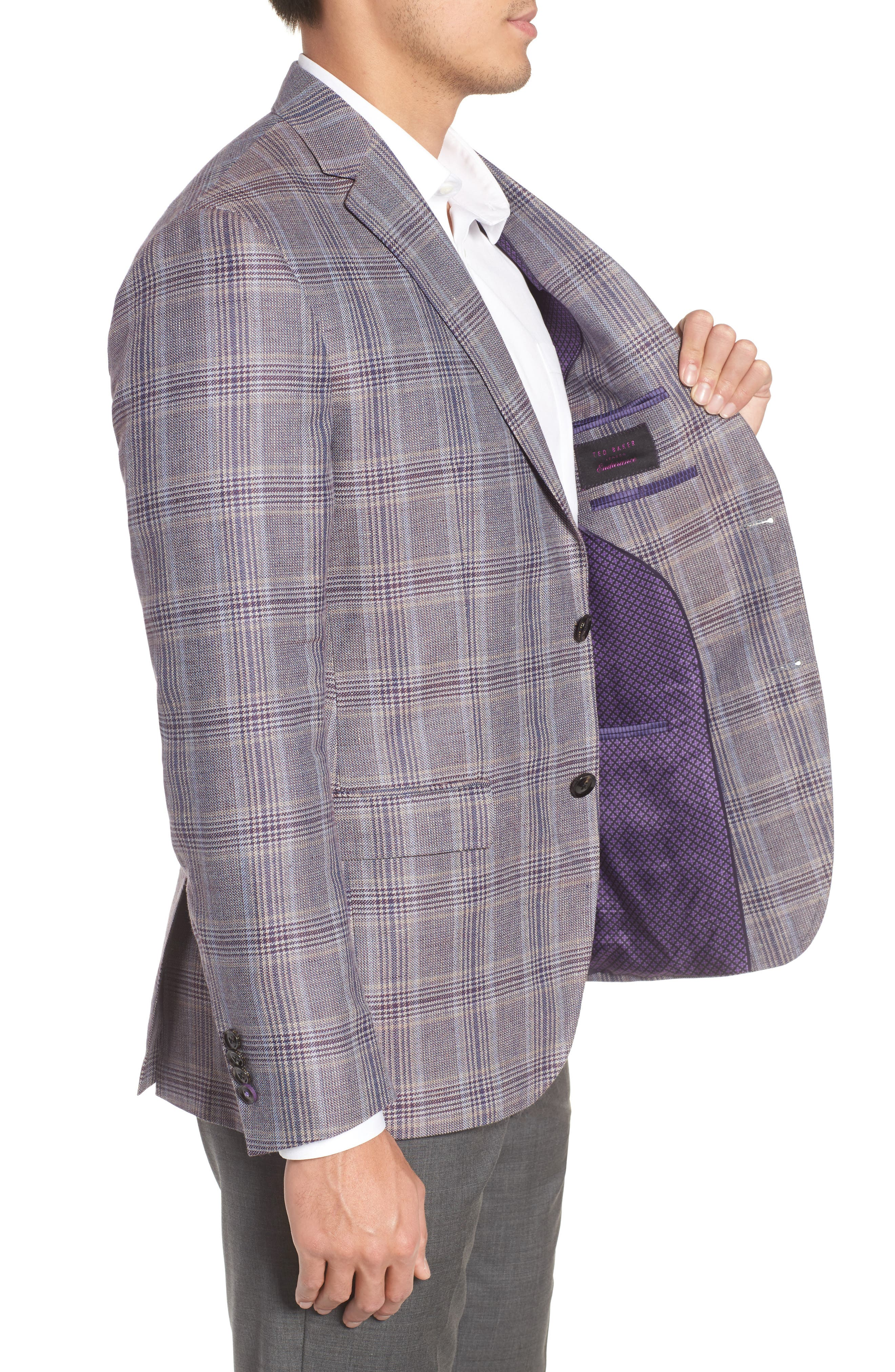 Konan Trim Fit Plaid Linen & Wool Sport Coat,                             Alternate thumbnail 4, color,                             Tan