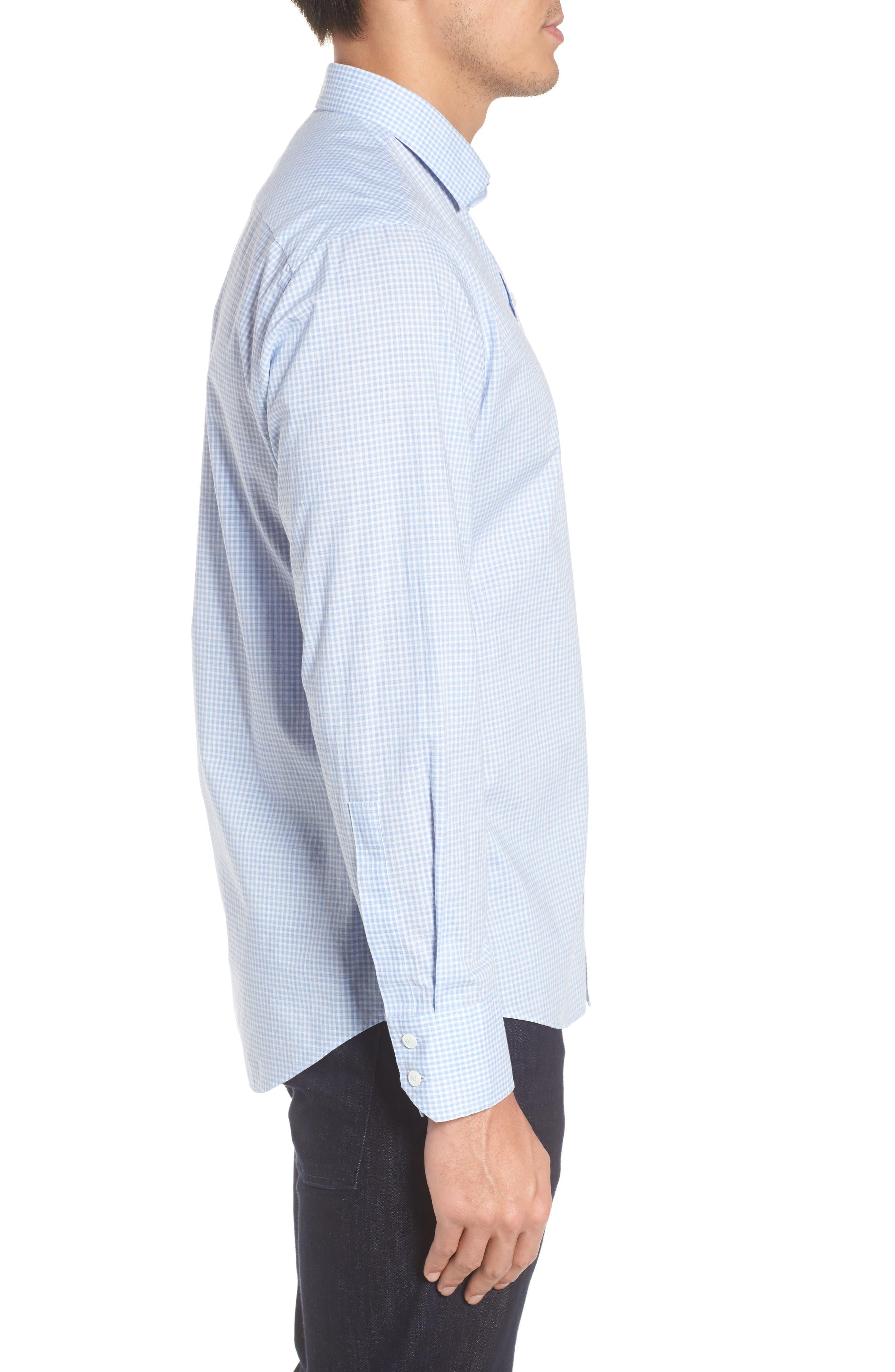 McGarry Gingham Sport Shirt,                             Alternate thumbnail 3, color,                             Light Blue