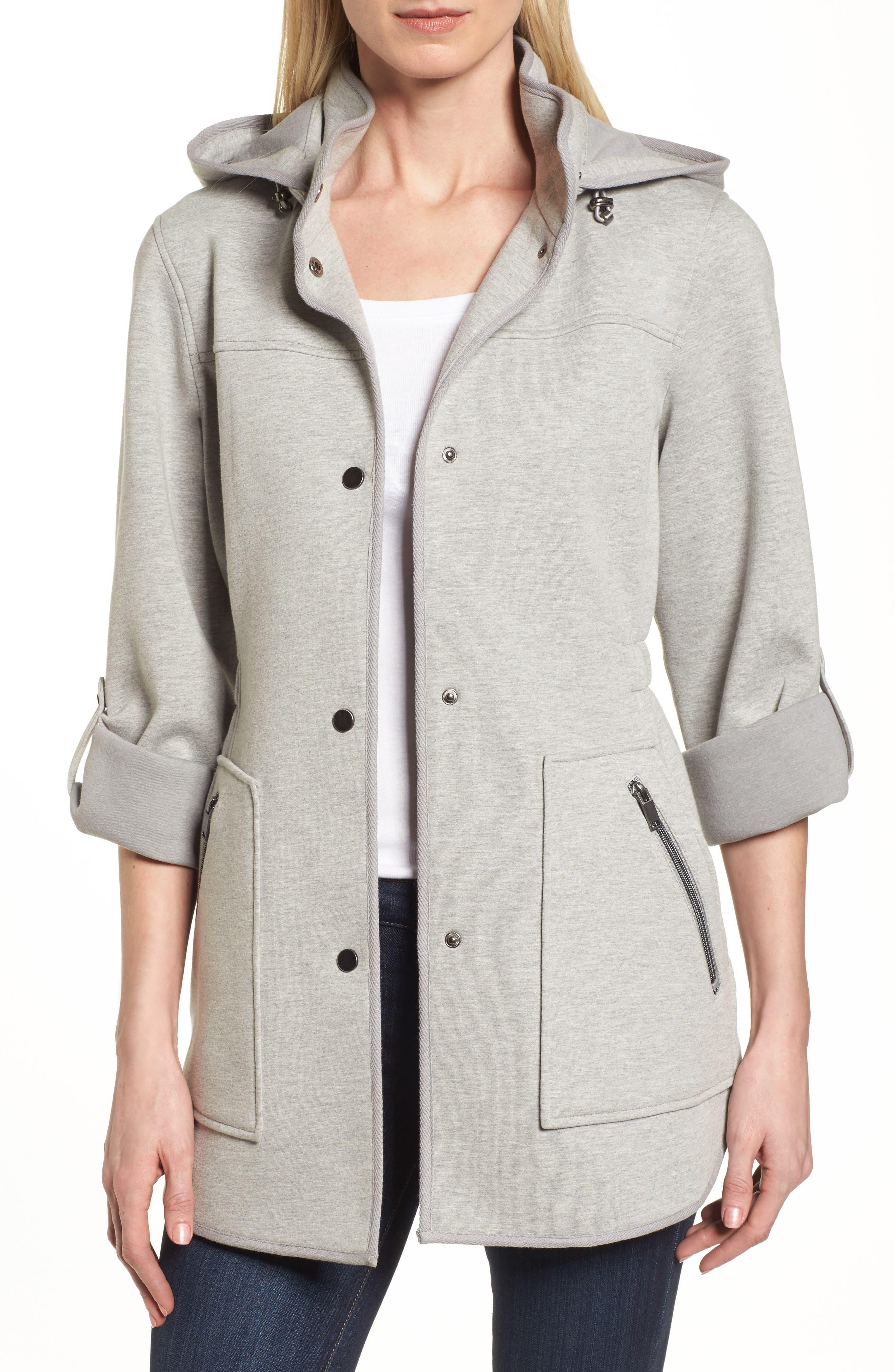Hooded Knit Anorak,                             Main thumbnail 1, color,                             Light Grey
