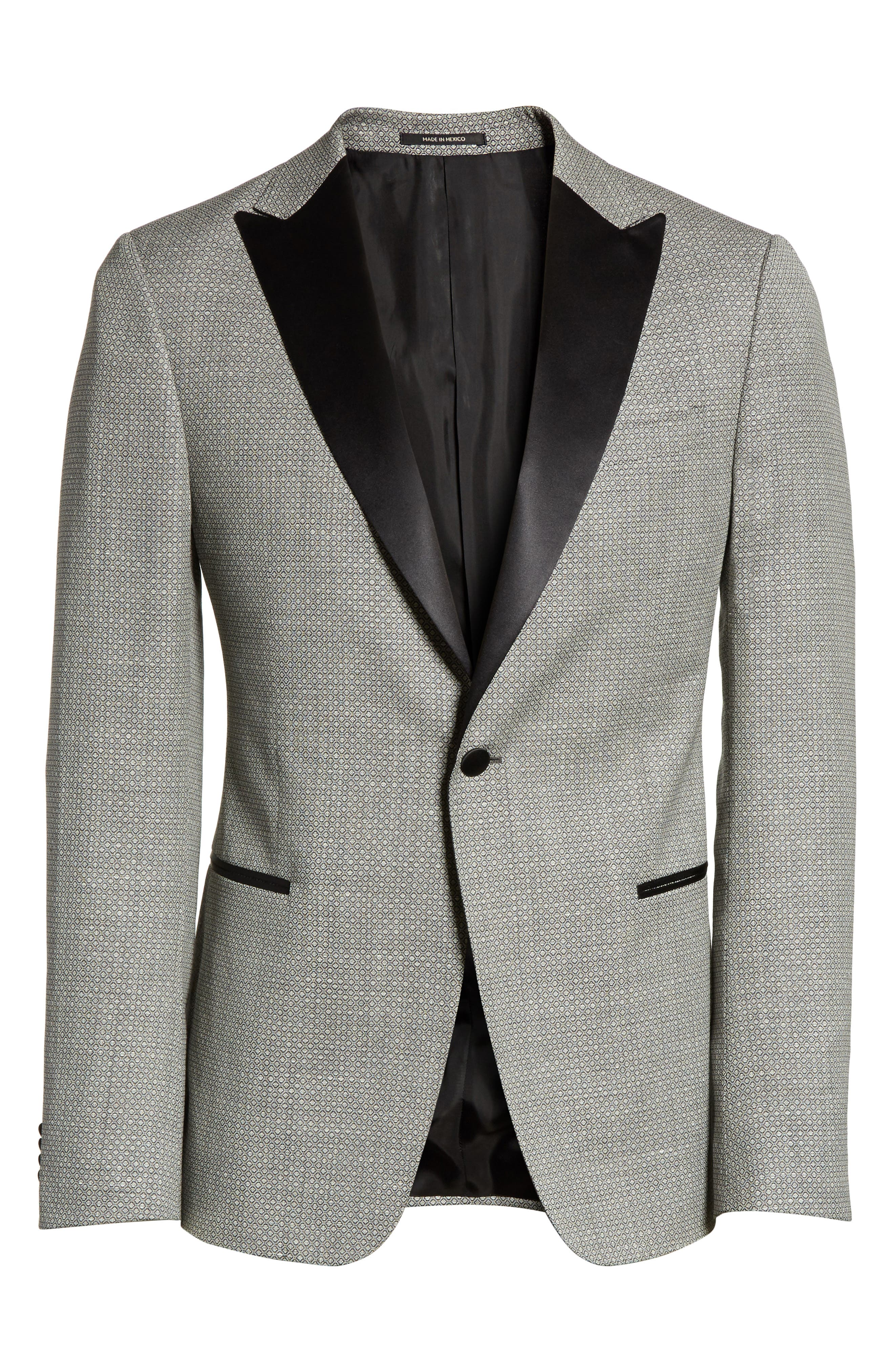 Classic Fit Stretch Wool & Linen Dinner Jacket,                             Alternate thumbnail 6, color,                             Dark Grey Check
