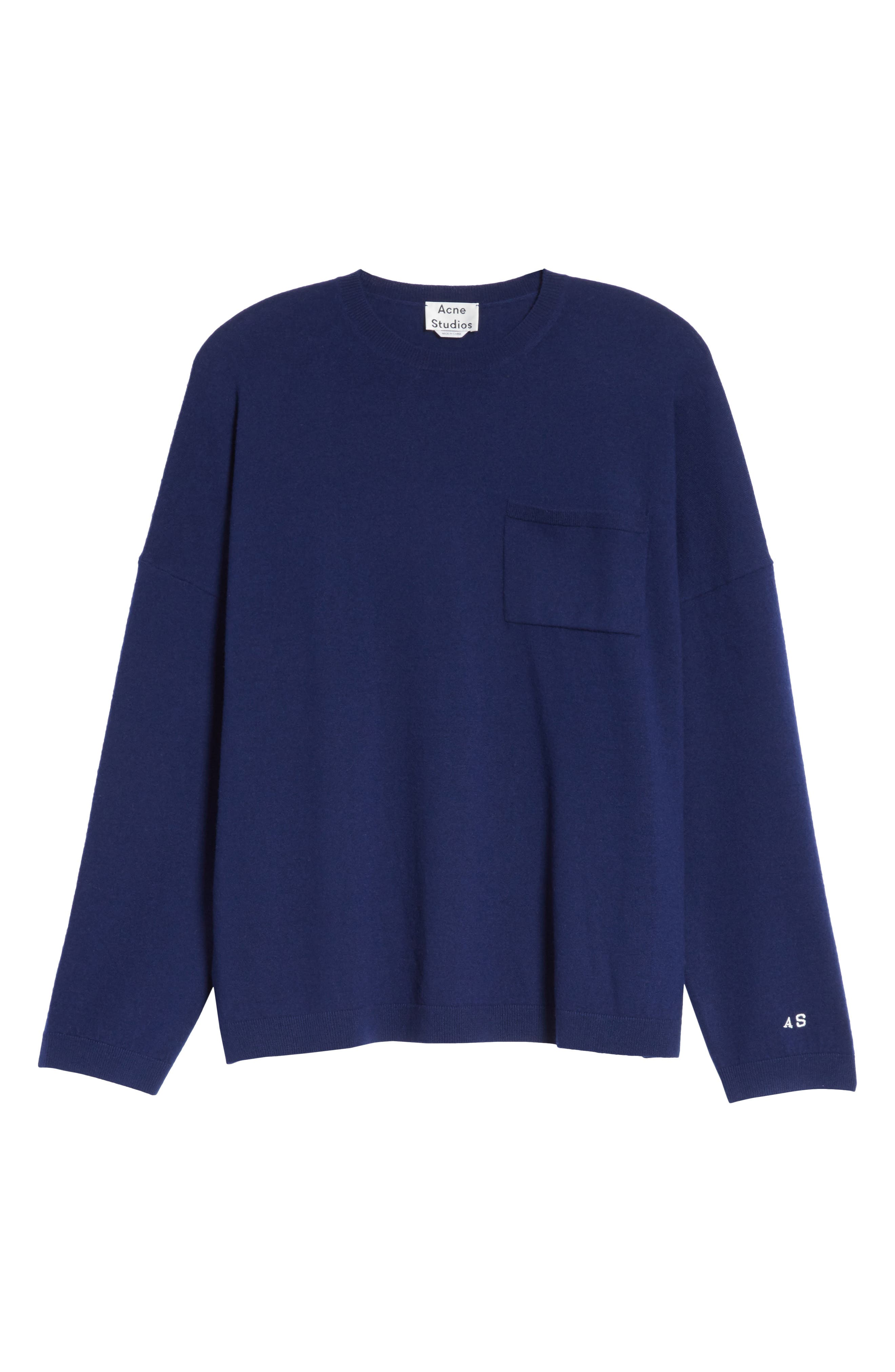 Libby Wool Sweater,                             Alternate thumbnail 6, color,                             Navy