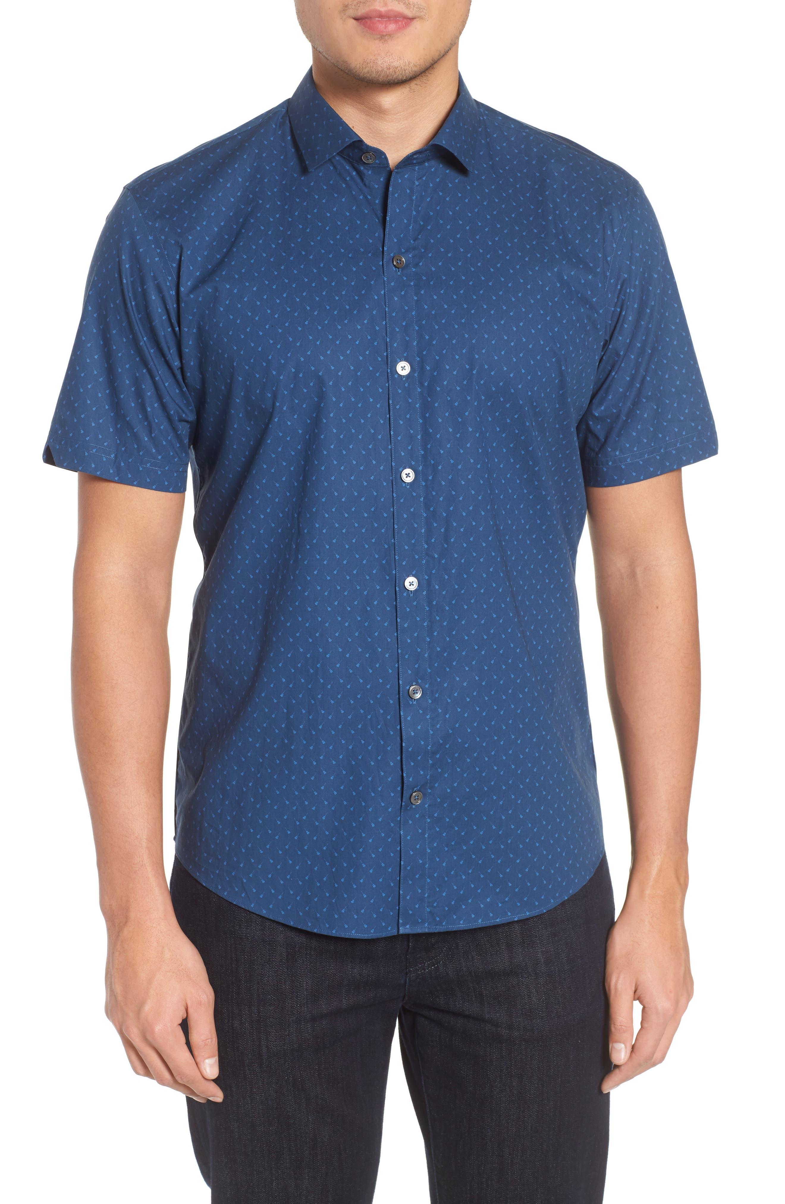 Shelton Slim Fit Guitar Print Sport Shirt,                             Main thumbnail 1, color,                             Dark Blue