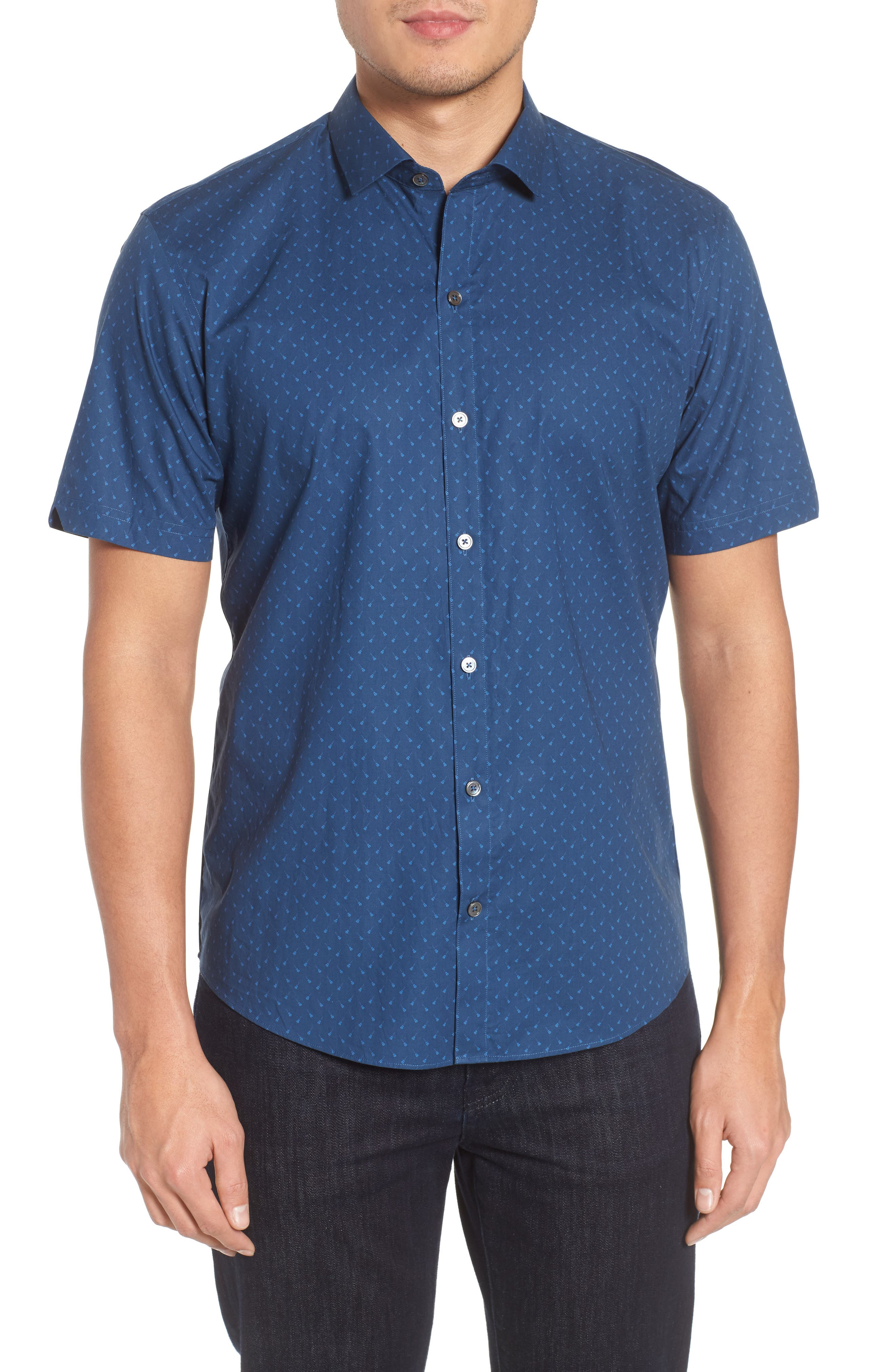 Shelton Slim Fit Guitar Print Sport Shirt,                         Main,                         color, Dark Blue
