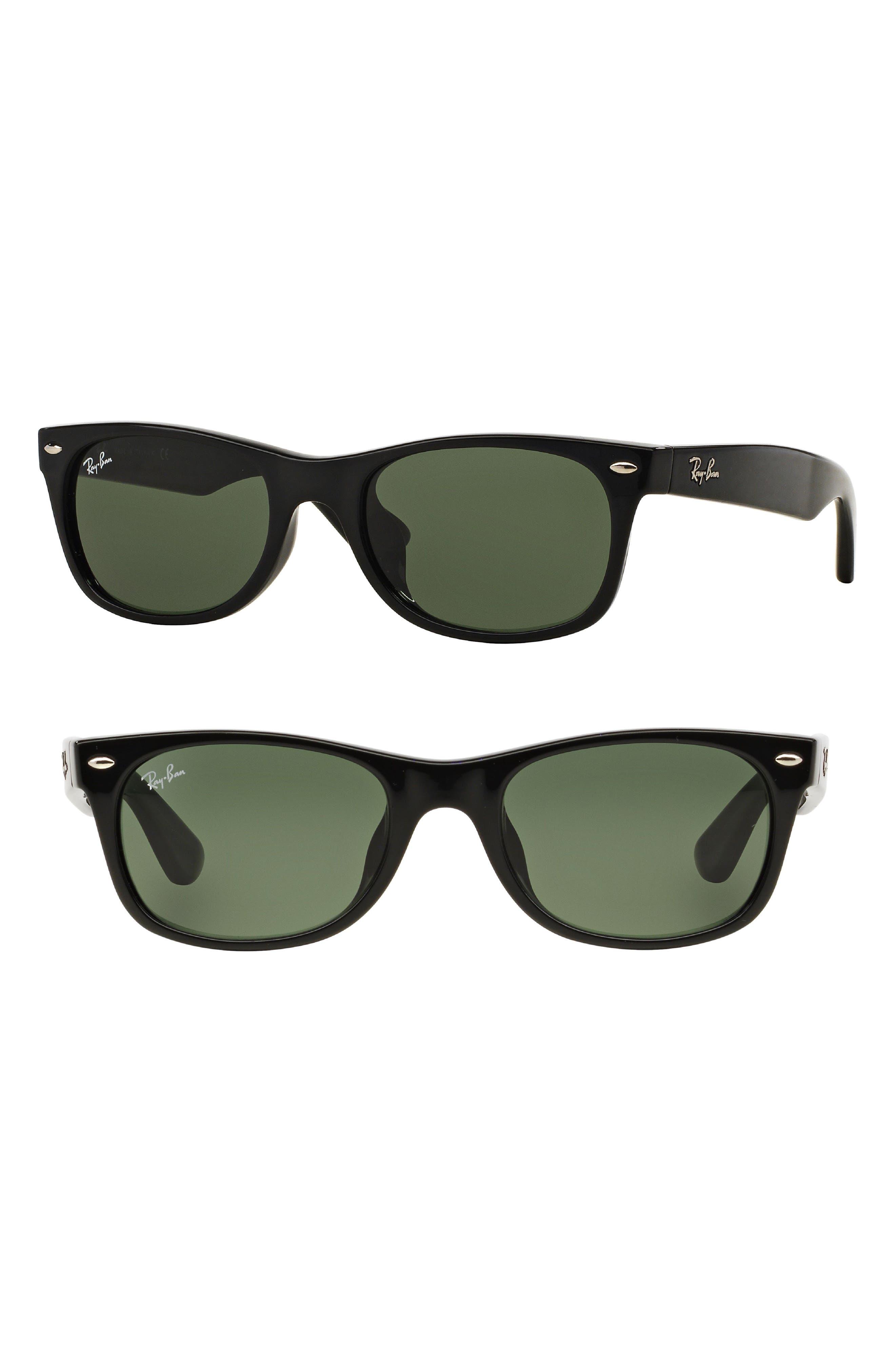 New Wayfarer Classic 52mm Sunglasses,                             Main thumbnail 1, color,                             Black