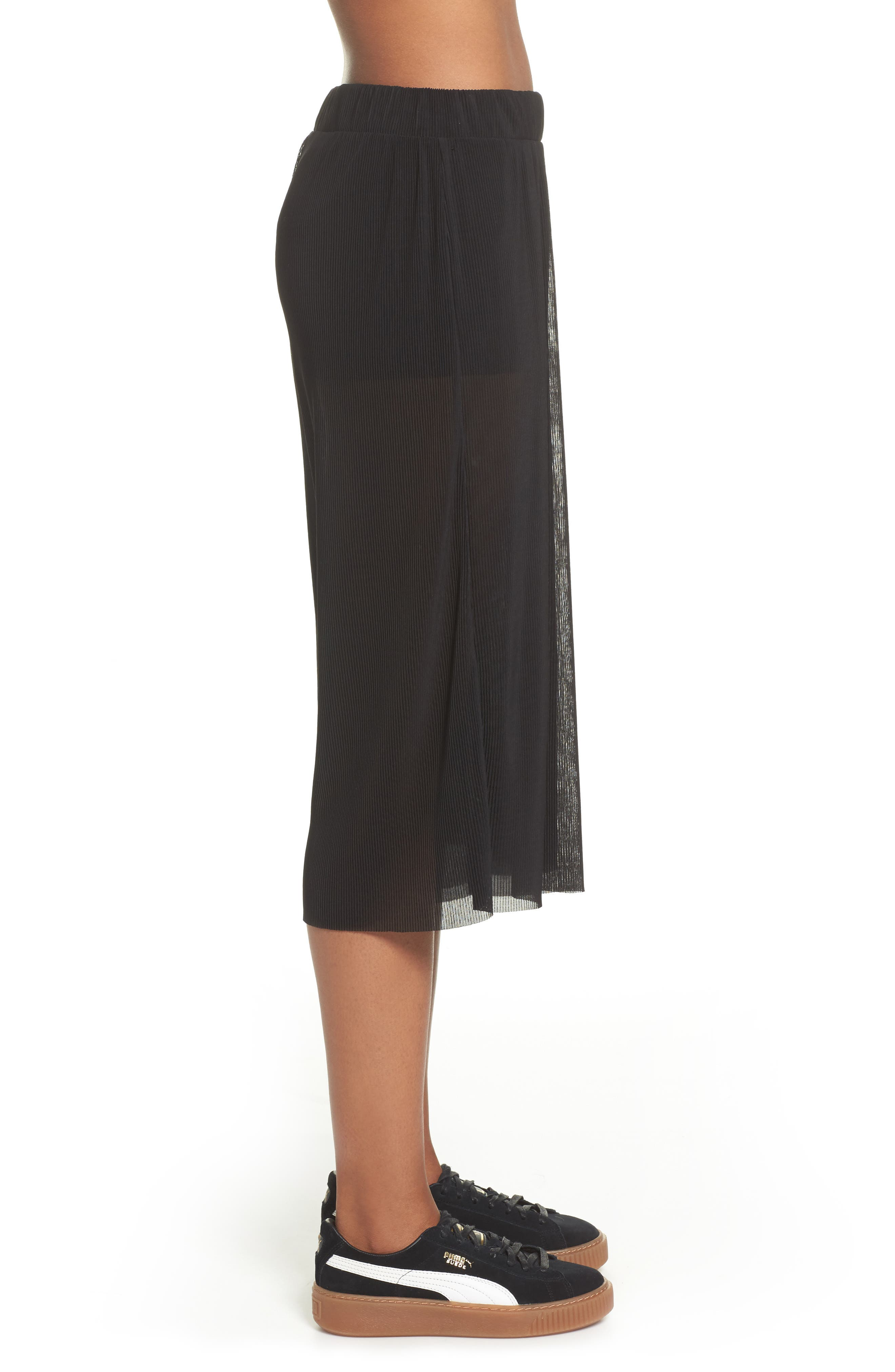 Pleated Culottes,                             Alternate thumbnail 3, color,                             Black