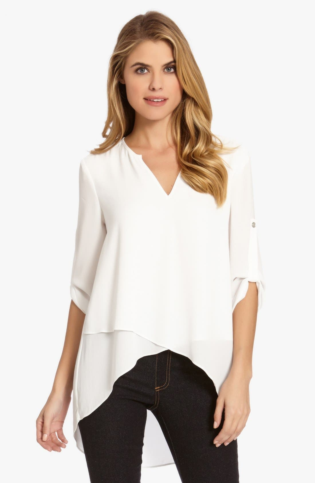 Asymmetrical Wrap Hem Top,                         Main,                         color, Off White