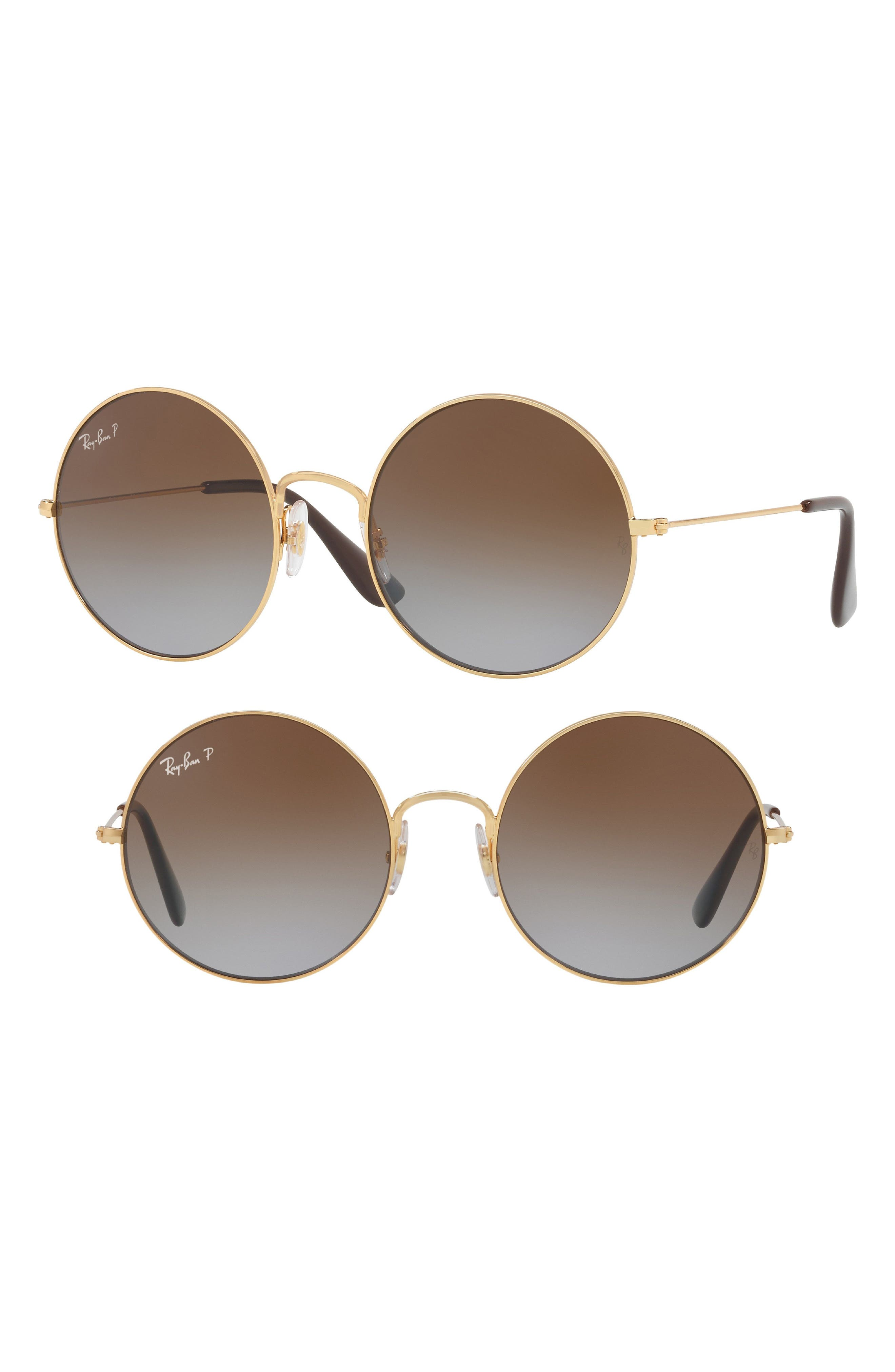 Ja-Jo 50mm Round Polarized Sunglasses,                             Main thumbnail 1, color,                             Gold/ Brown