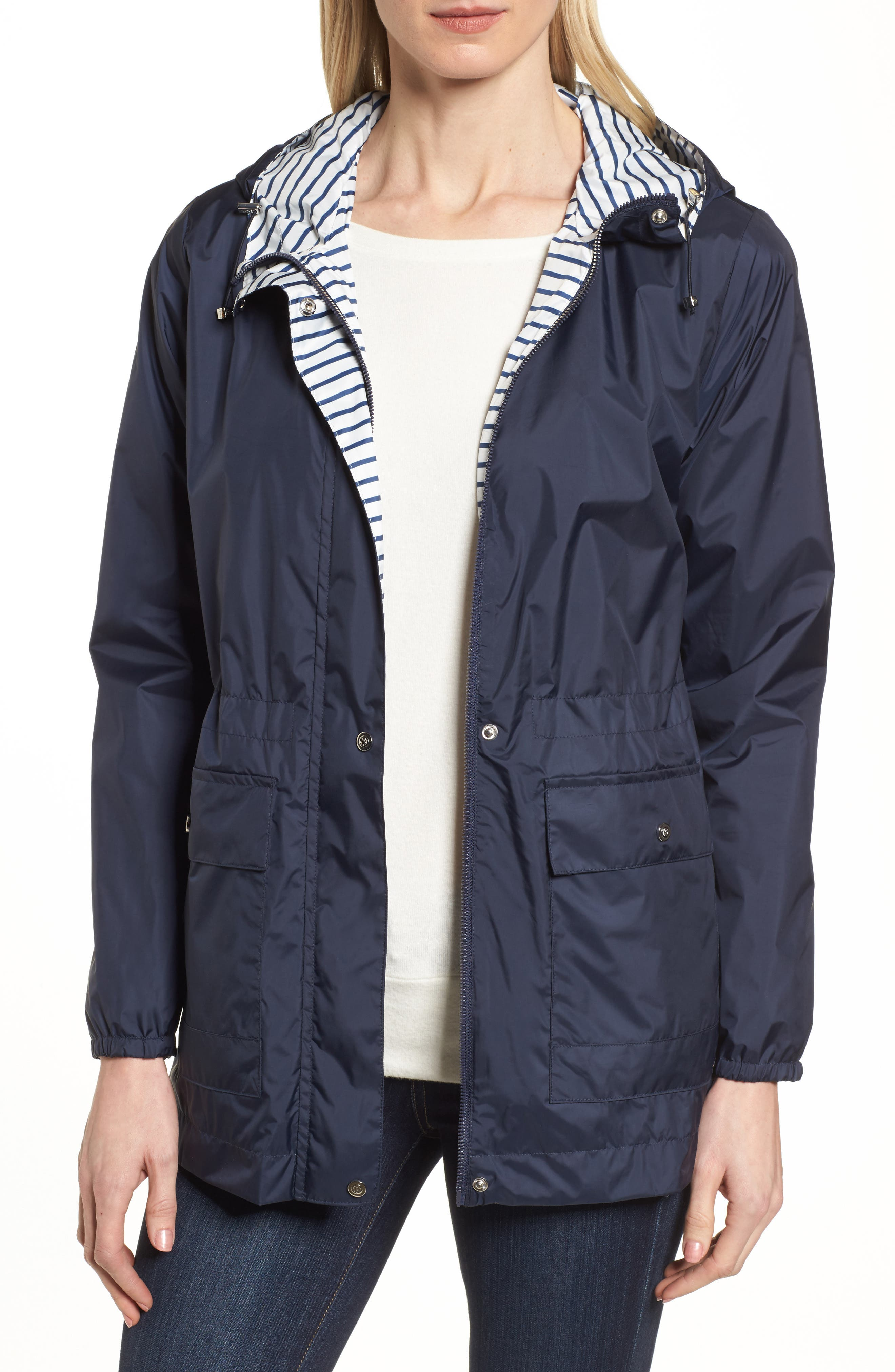 Solid to Stripe Reversible Jacket,                         Main,                         color, Navy