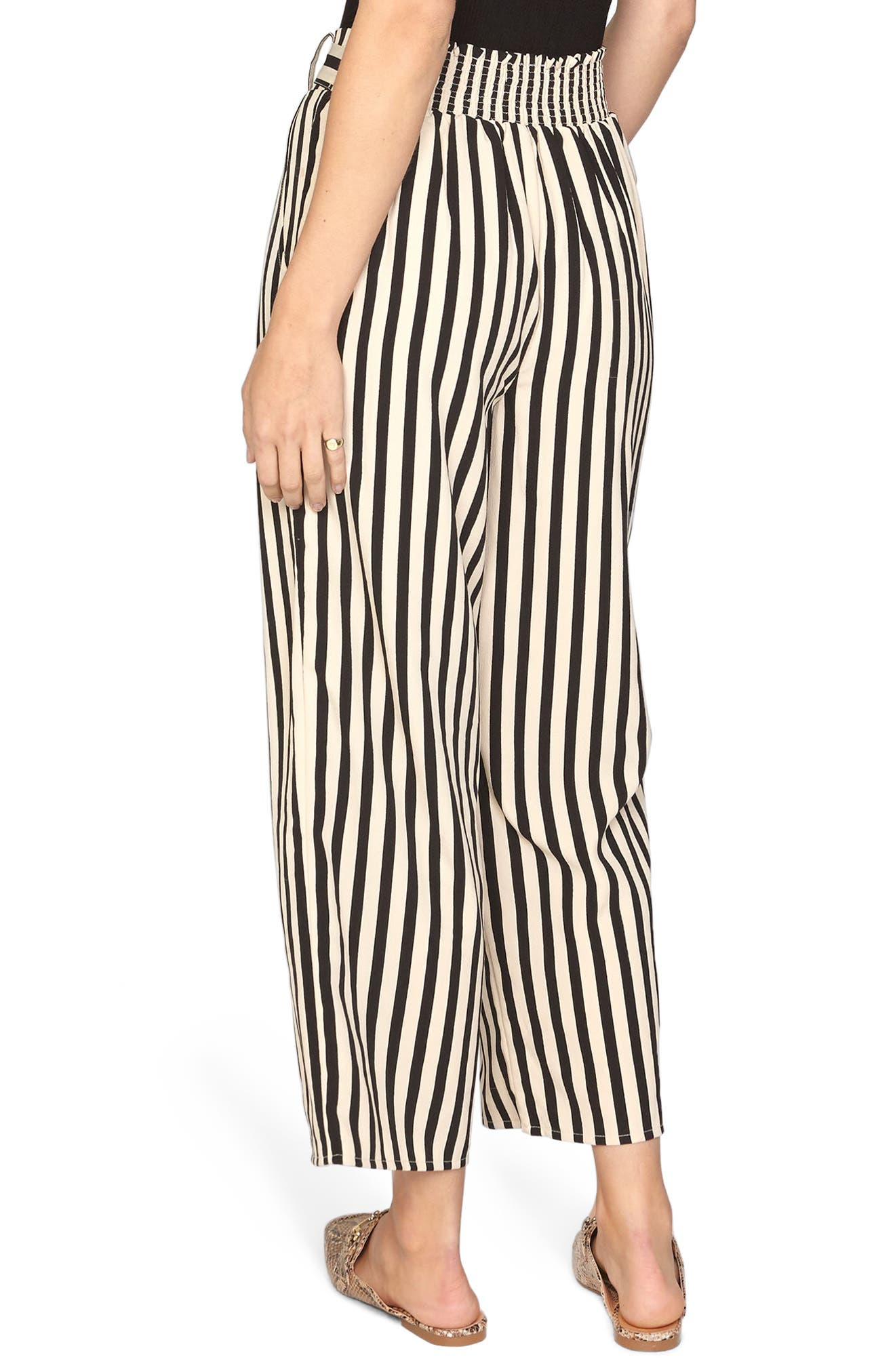 Stripe Crop Wide Leg Pants,                             Alternate thumbnail 3, color,                             Black Sands