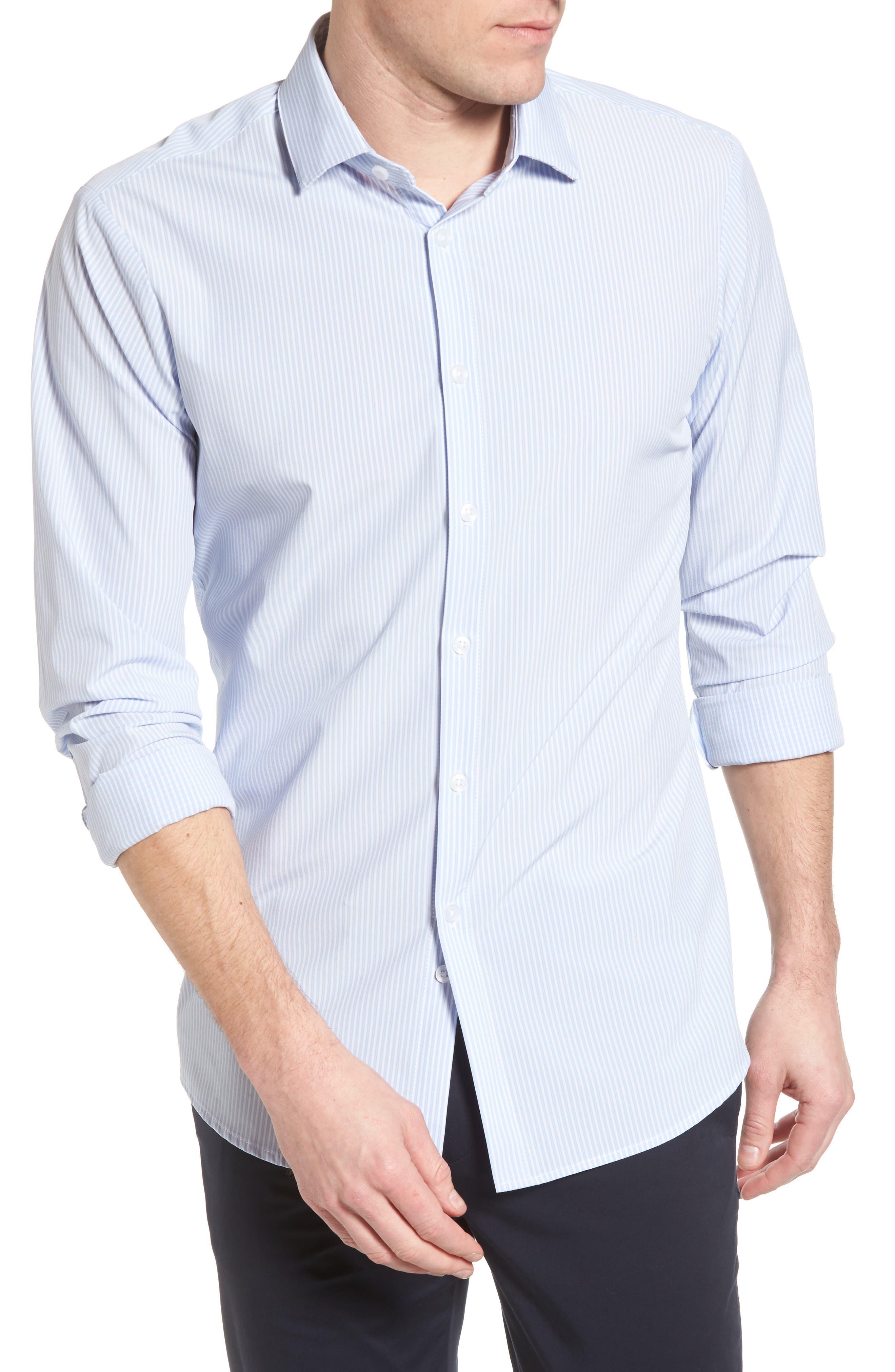 Caldwell Slim Fit Stripe Sport Shirt,                             Alternate thumbnail 4, color,                             Blue