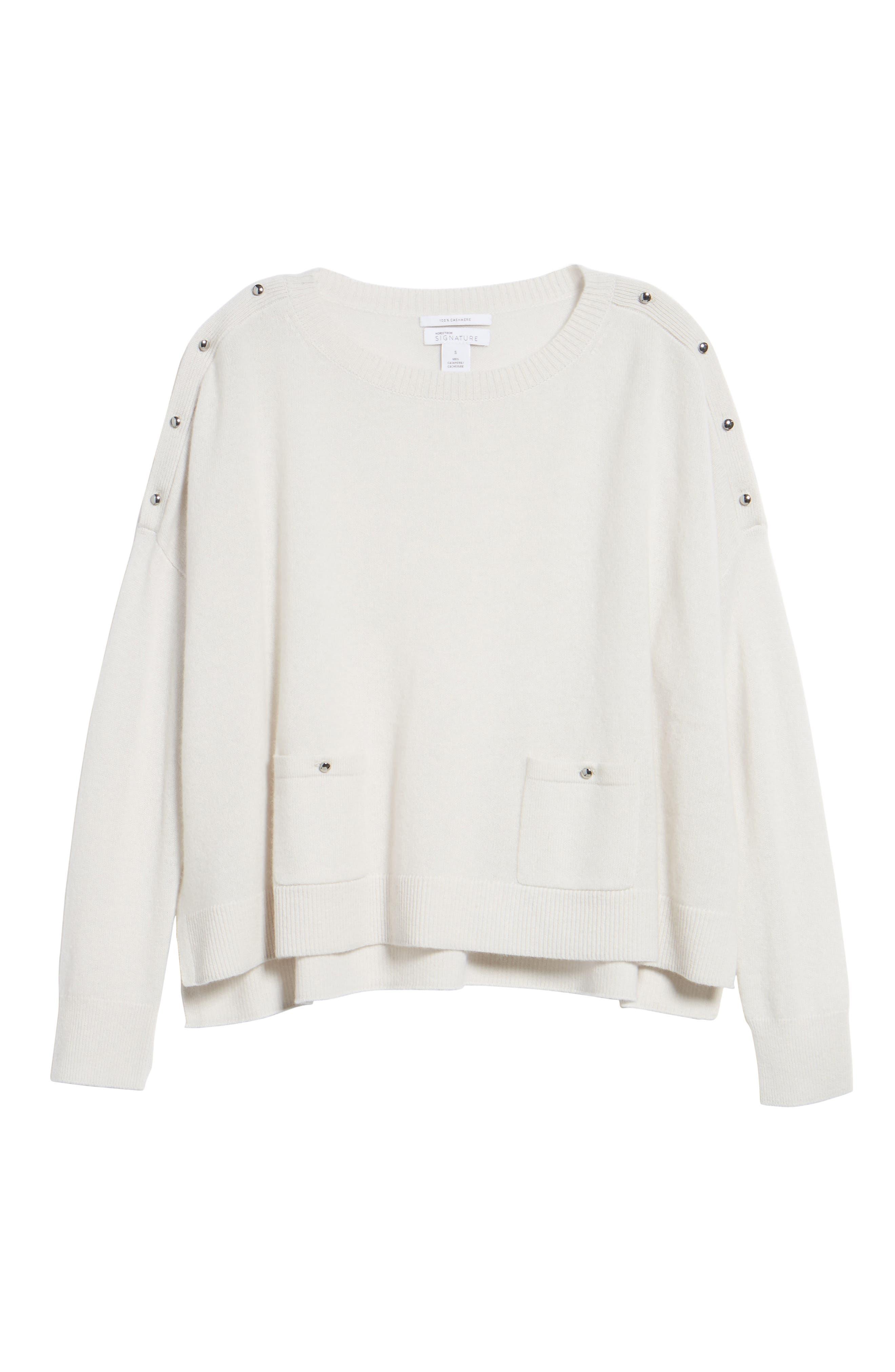 Button Detail Cashmere Sweater,                             Alternate thumbnail 6, color,                             Beige Pumice