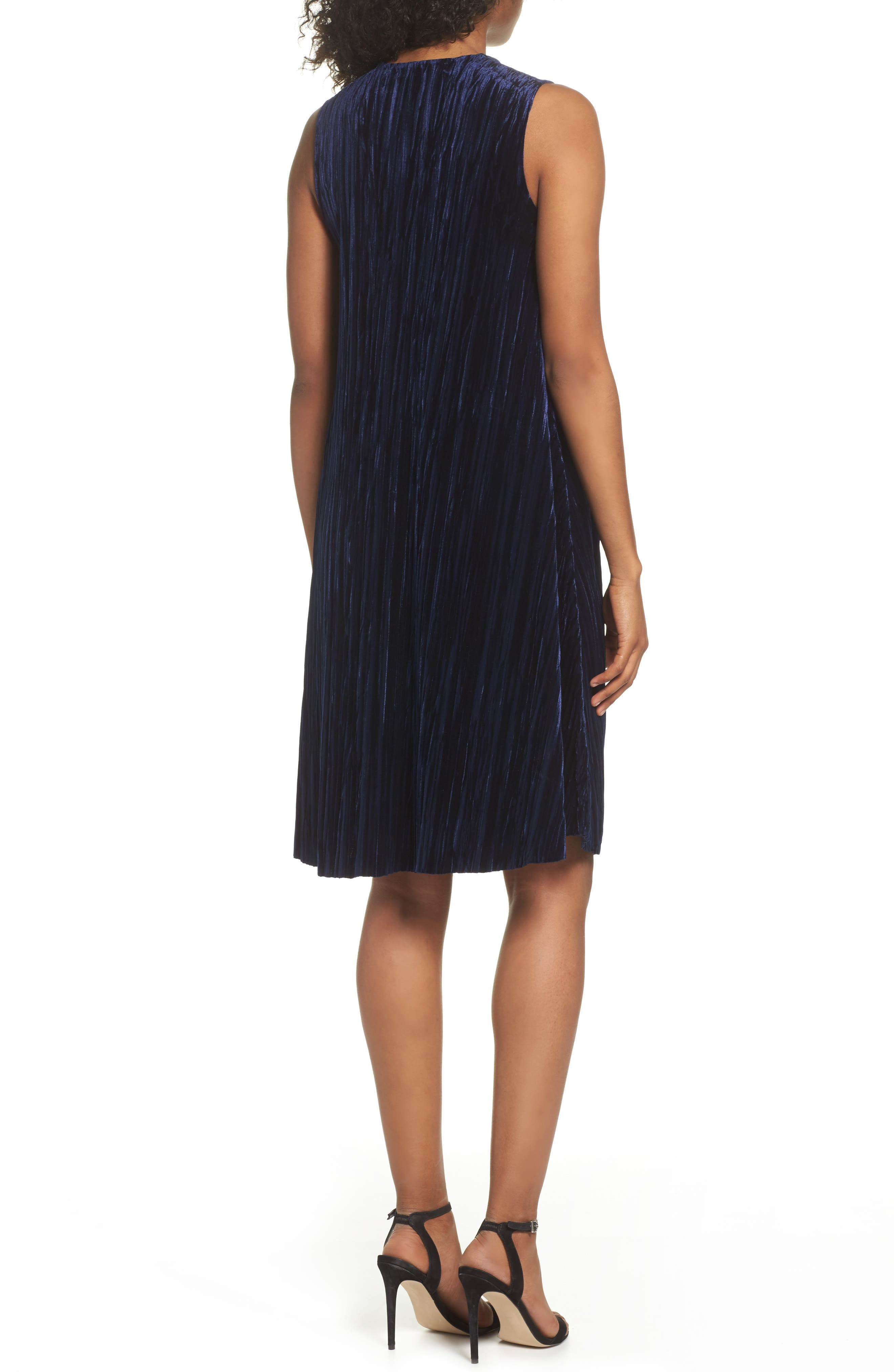 Velvet Shift Dress,                             Alternate thumbnail 2, color,                             Navy