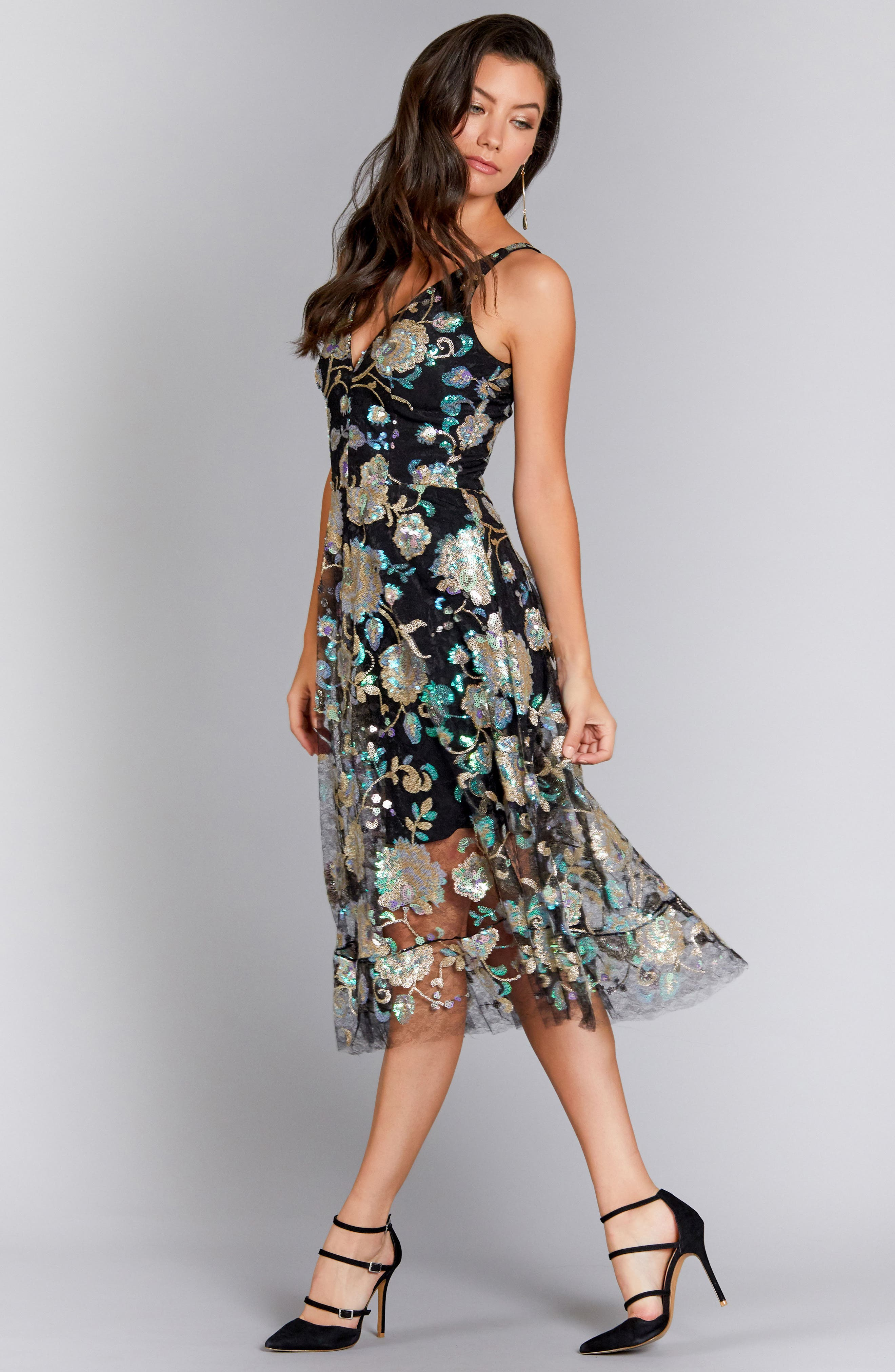 Audrey Sequin Embroidered Midi Dress,                             Alternate thumbnail 2, color,                             Black/ Iridescent Floral