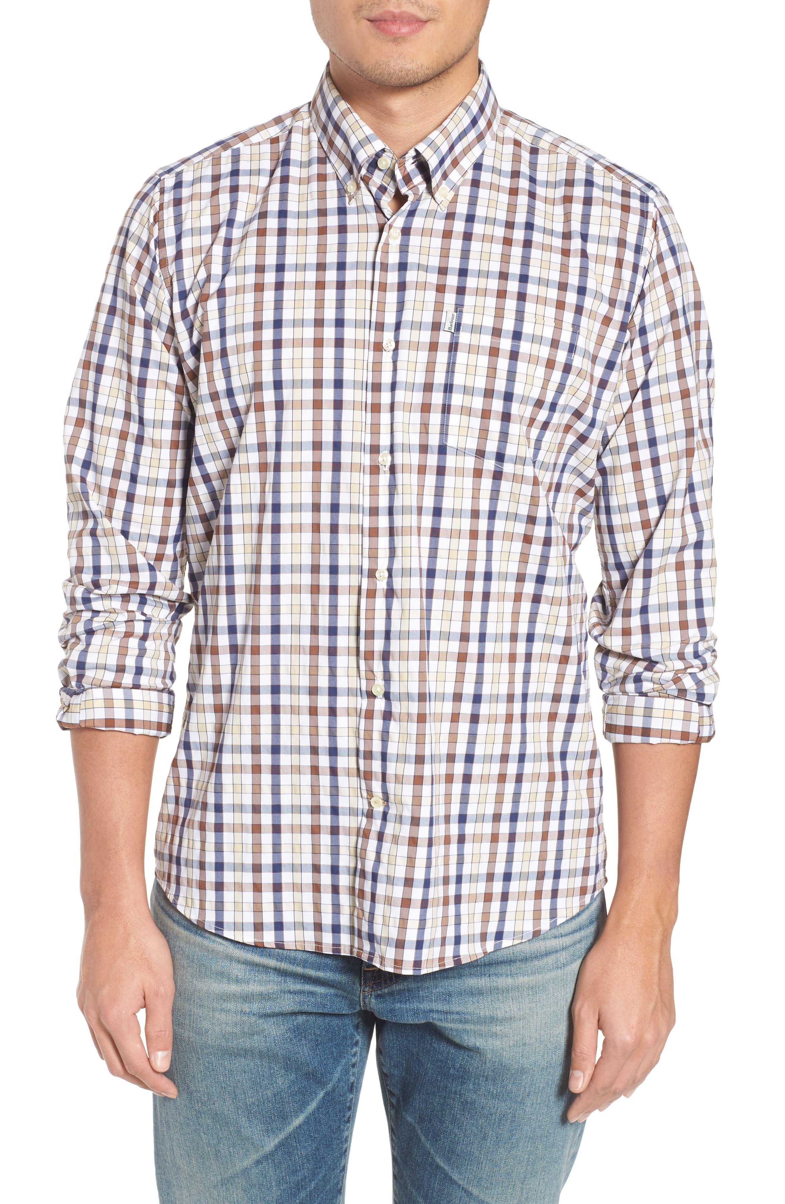 Fell Performance Regular Fit Stretch Check Sport Shirt,                             Main thumbnail 1, color,                             Sandstone