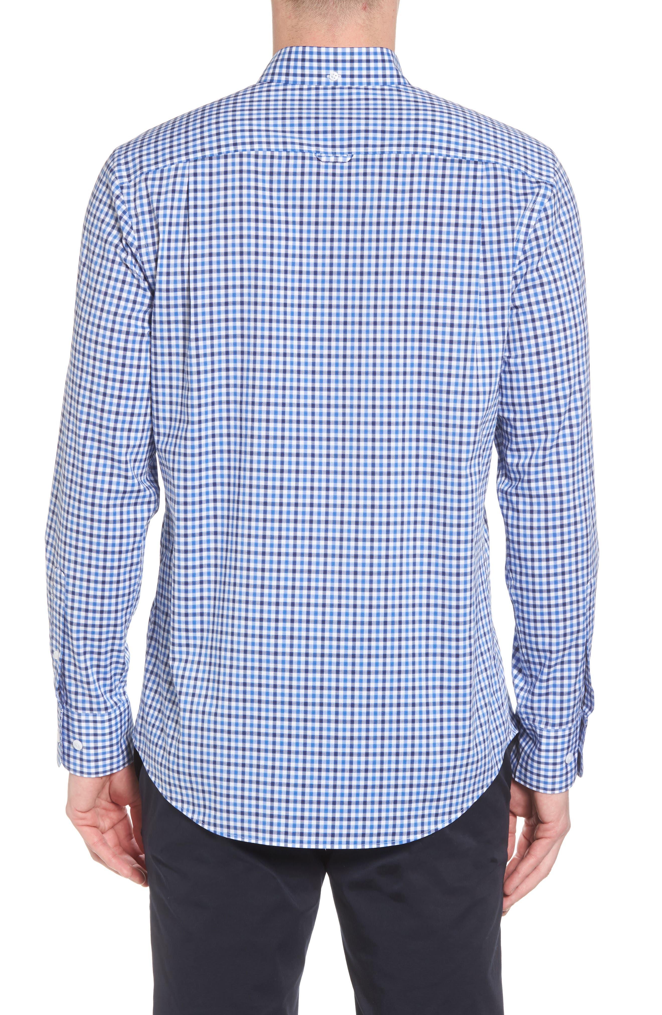 Tech-Smart Regular Fit Check Sport Shirt,                             Alternate thumbnail 3, color,                             Blue Camp Navy Check