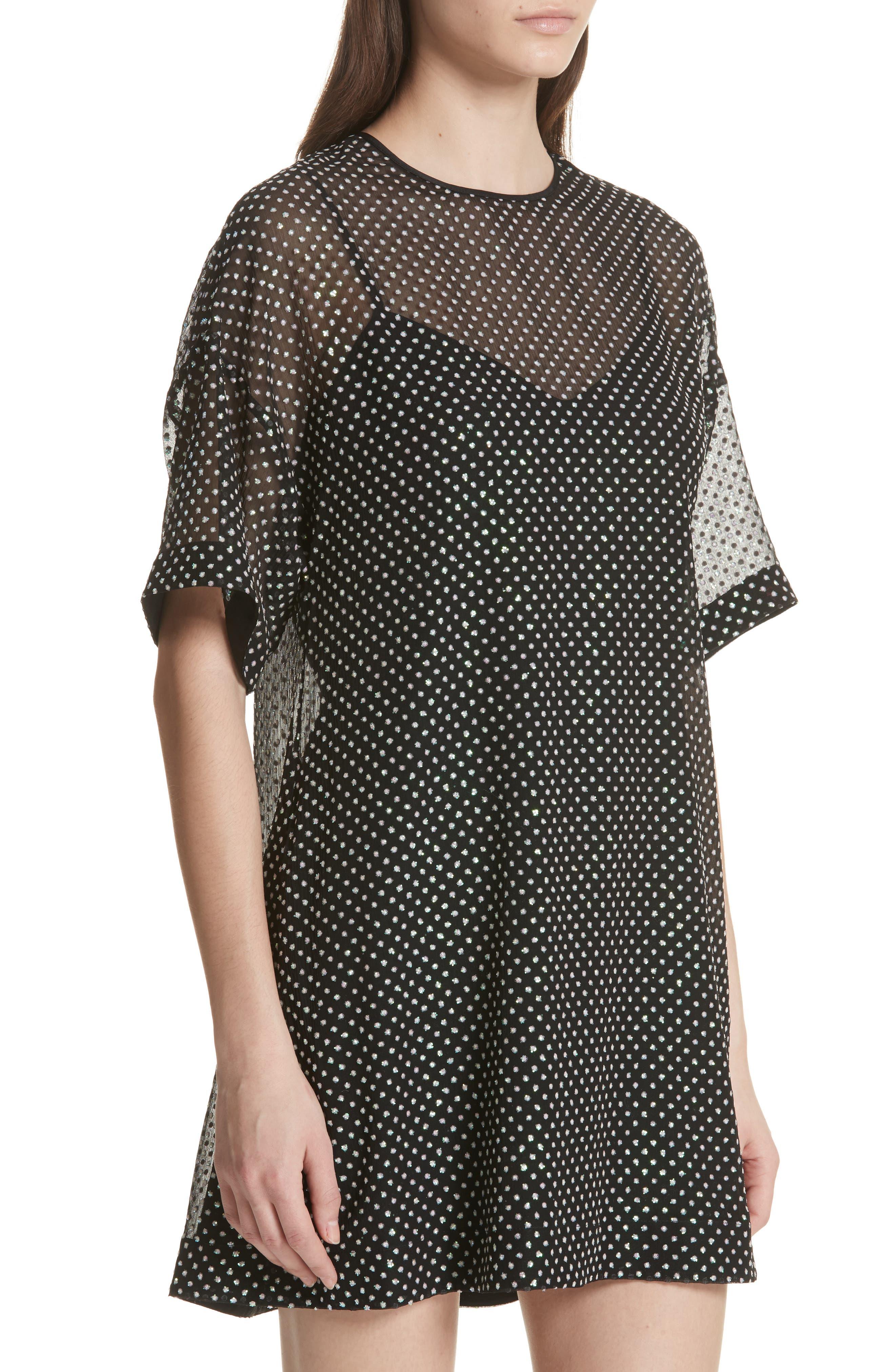 Creponne T-Shirt Dress,                             Alternate thumbnail 4, color,                             Black