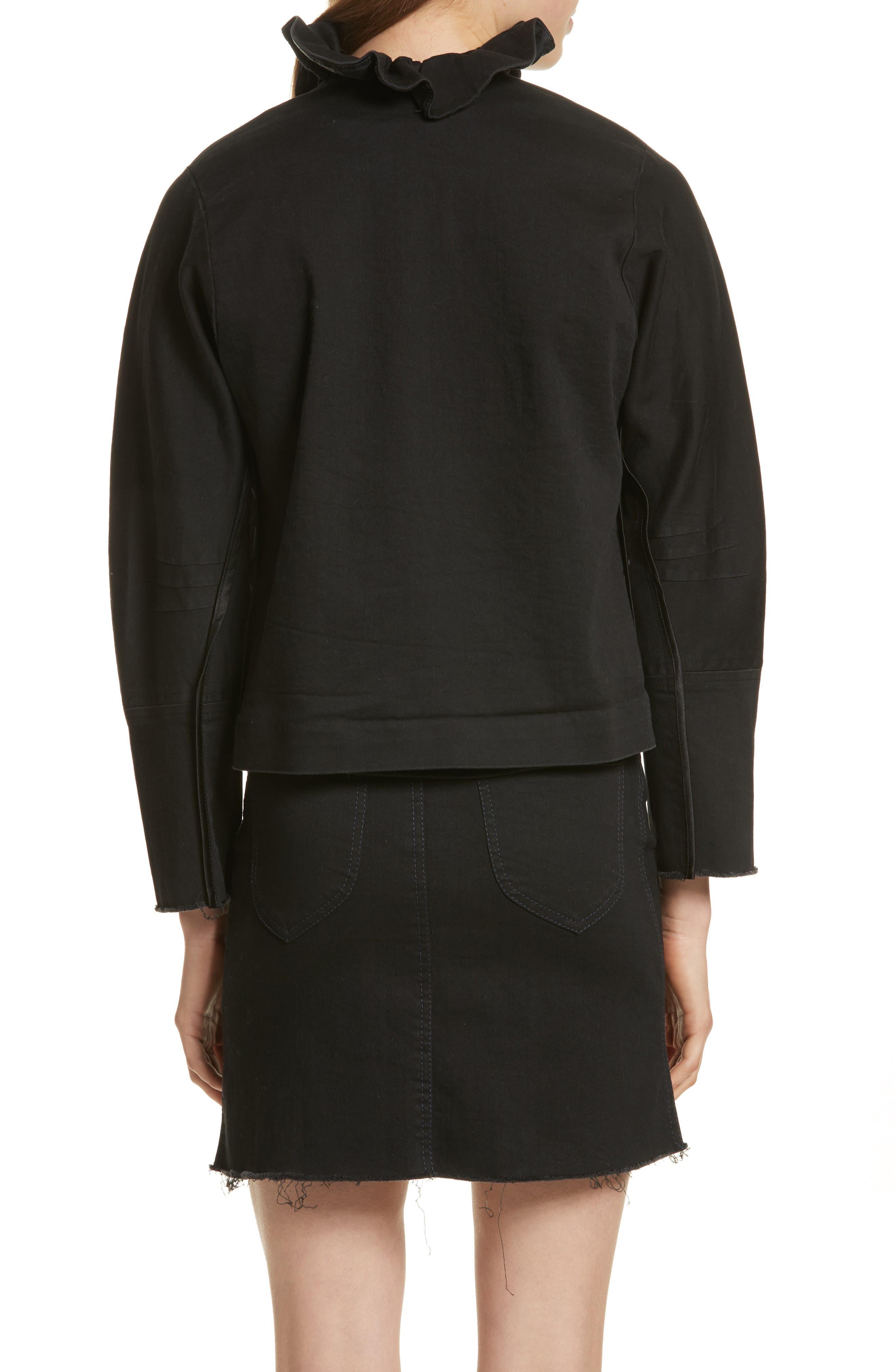 Ruffle Collar Crop Denim Jacket,                             Alternate thumbnail 2, color,                             Black