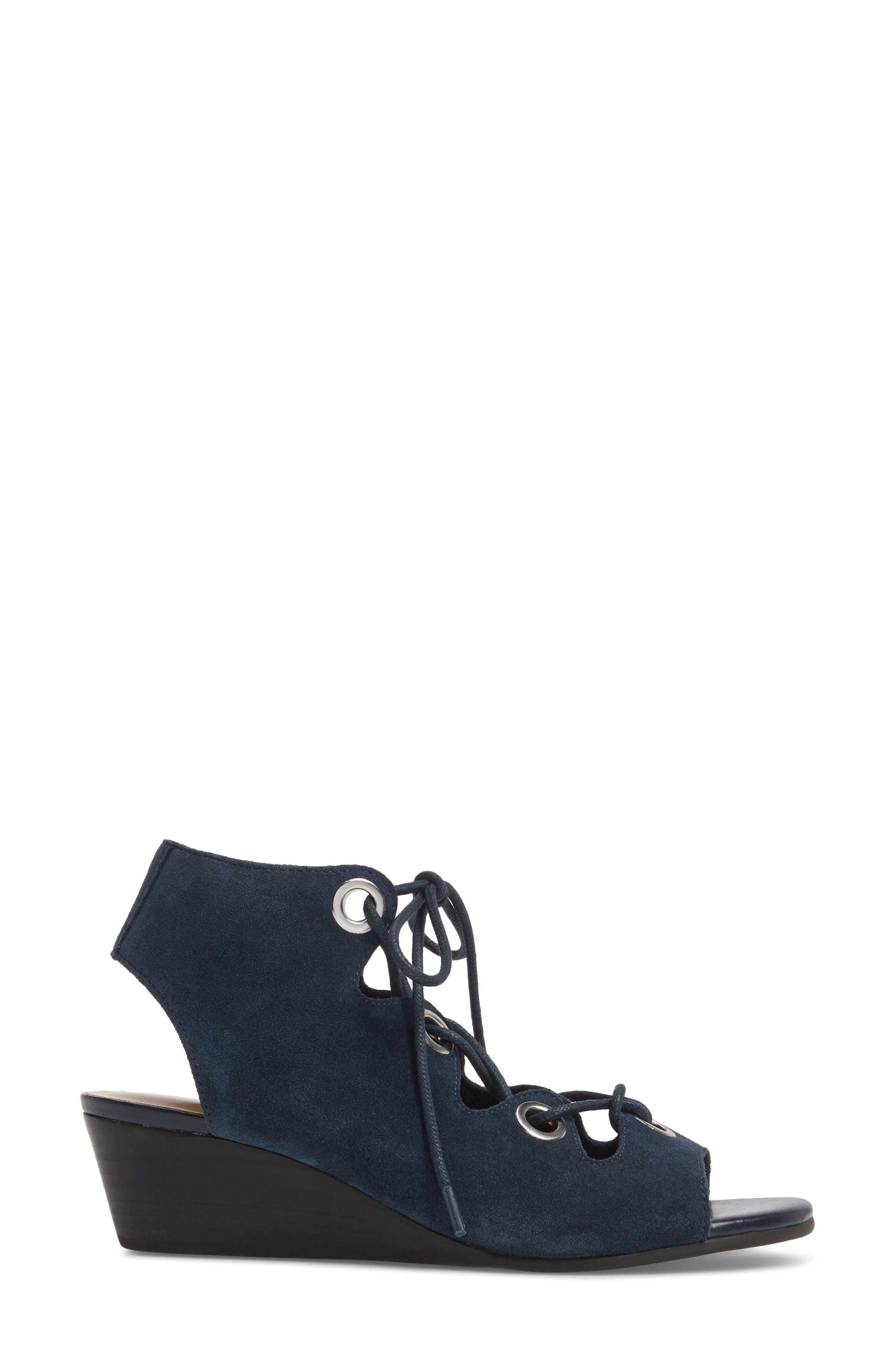 Ingrid Lace-Up Sandal,                             Alternate thumbnail 3, color,                             Navy Suede