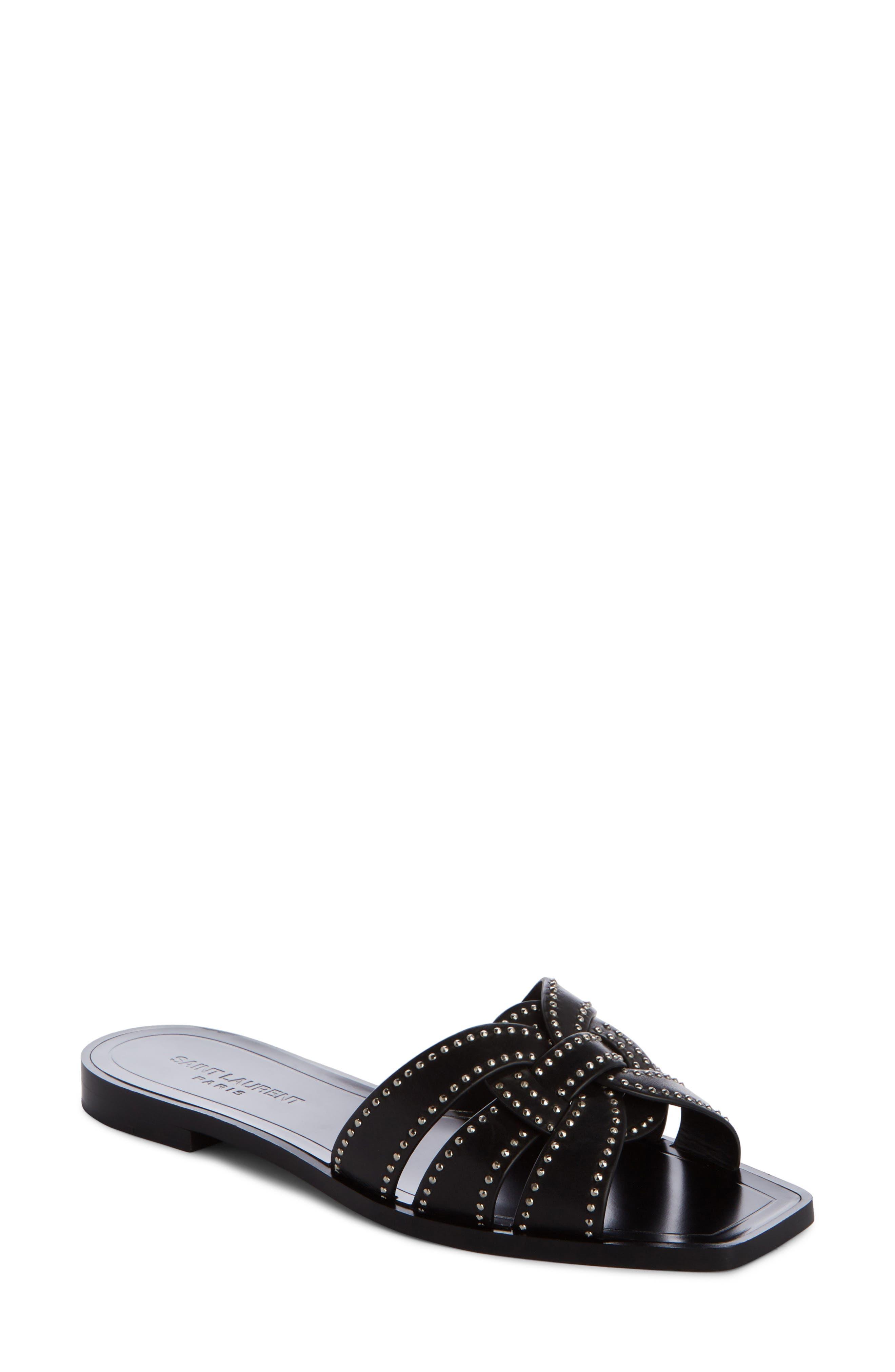 Nu Pieds Studded Slide Sandal,                             Main thumbnail 1, color,                             Black