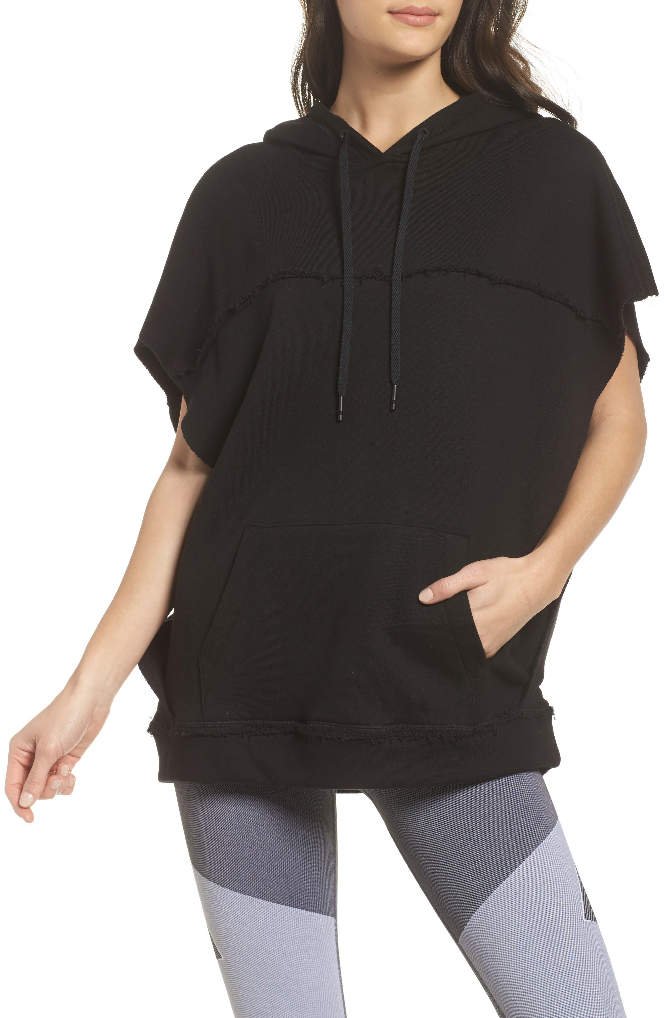 Split Hooded Poncho,                         Main,                         color, Black