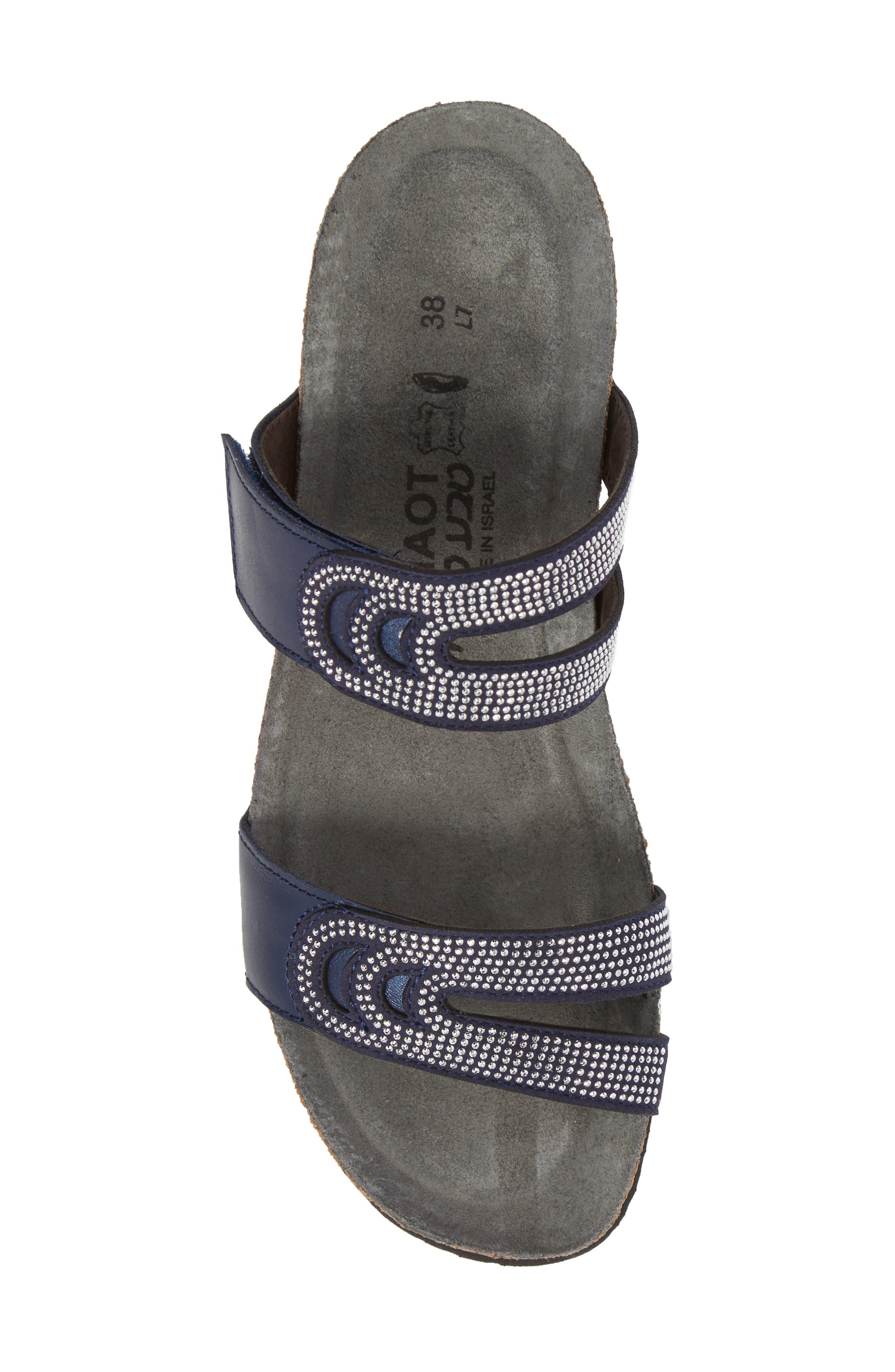 Ainsley Studded Slide Sandal,                             Alternate thumbnail 5, color,                             Polar Nubuck
